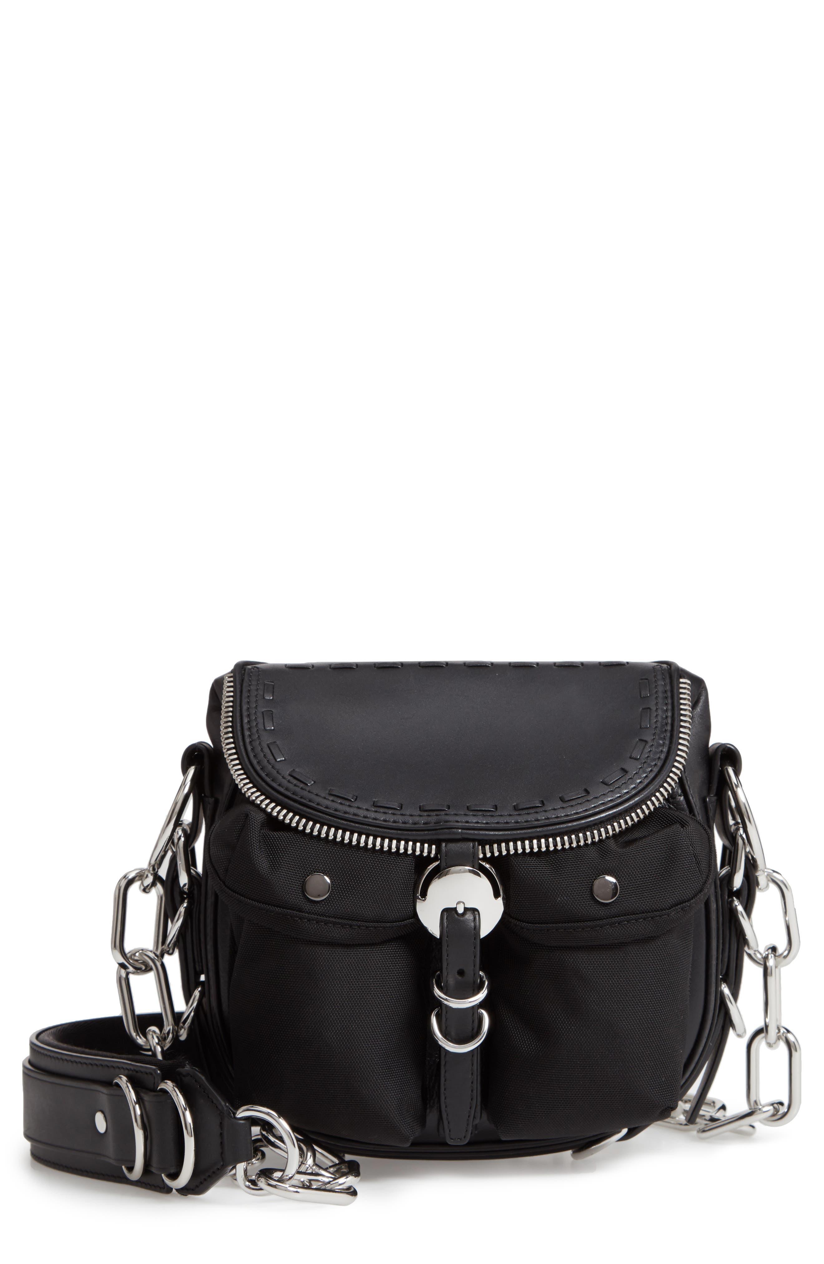 Rove Mixed Media Crossbody Bag,                         Main,                         color, BLACK