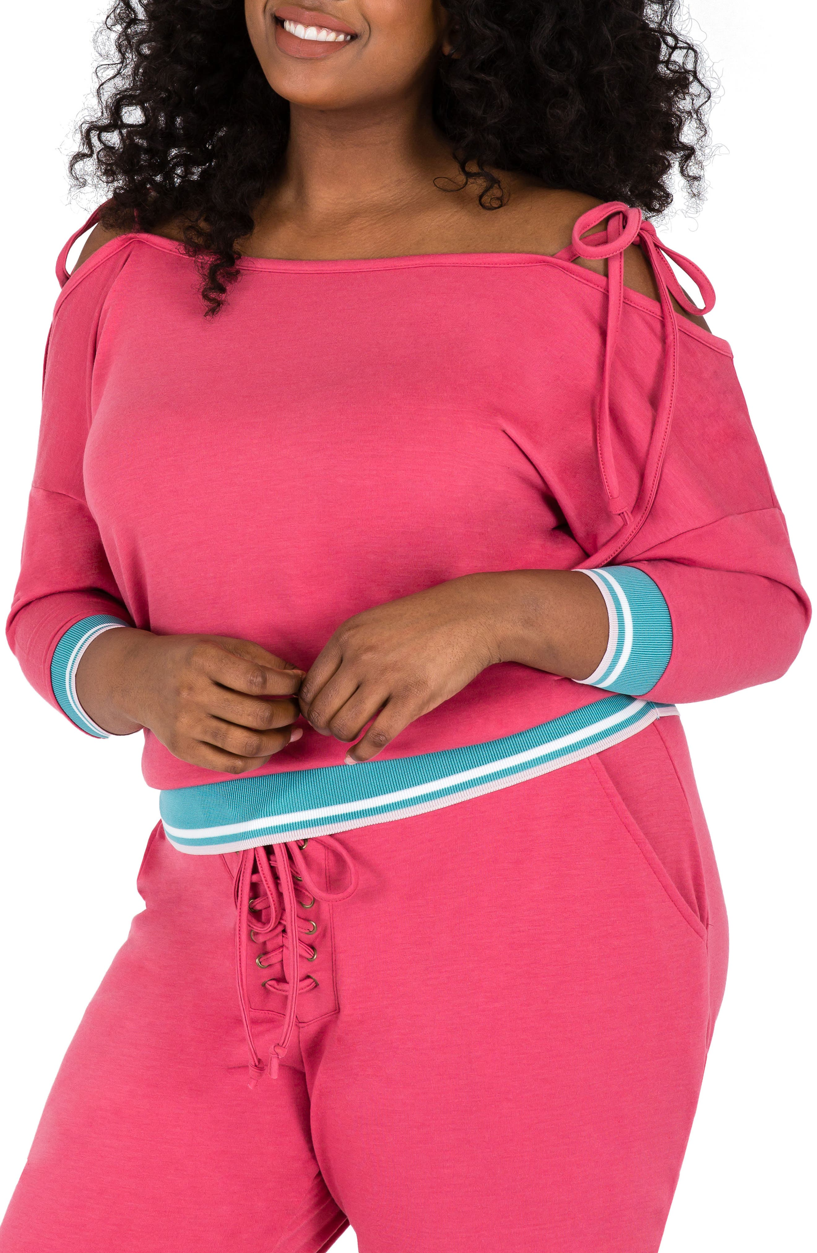 Plus Size Poetic Justice Janae Convertible Knit Top, Pink