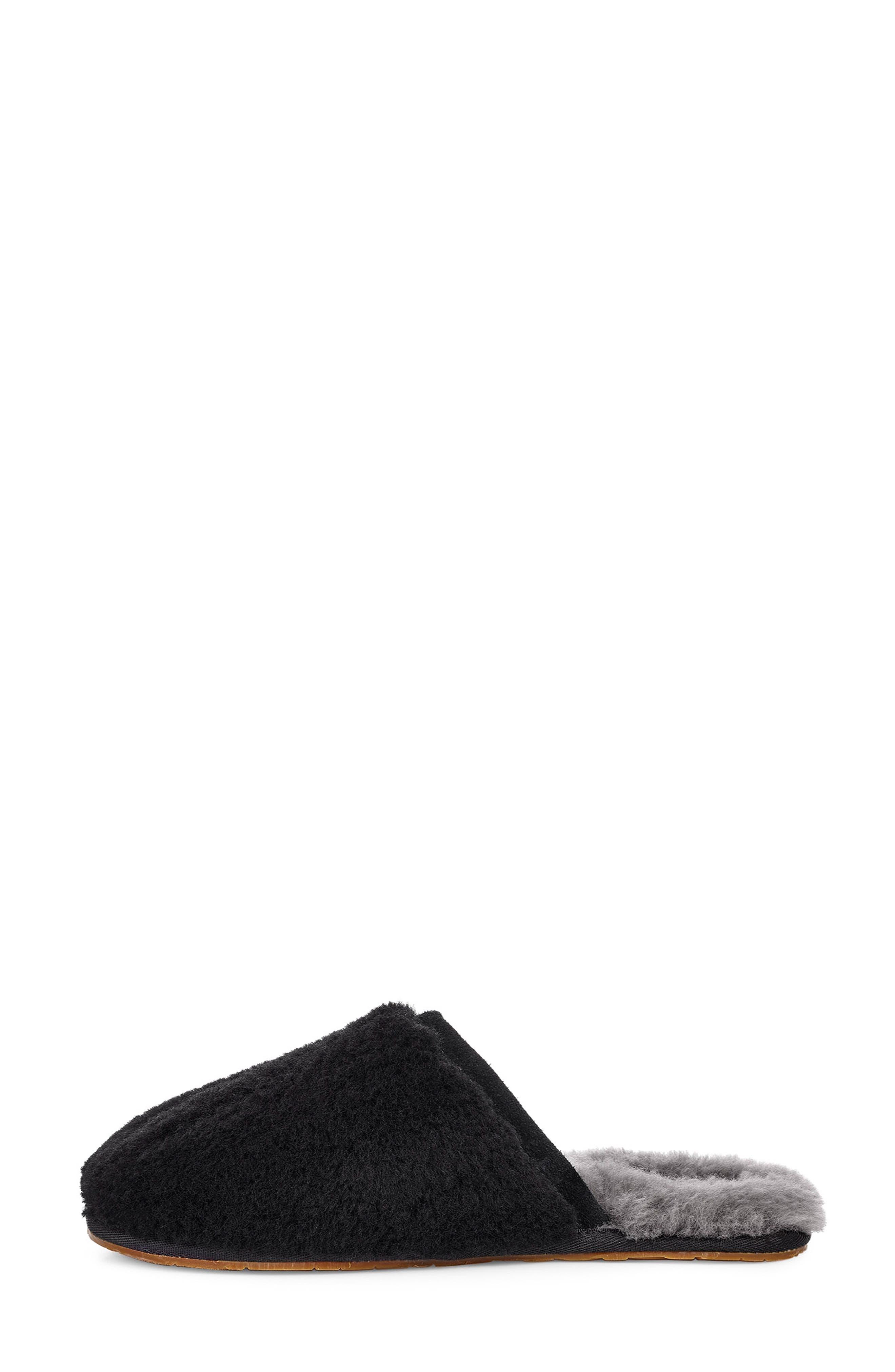 Fluffette Slipper,                             Alternate thumbnail 6, color,                             BLACK WOOL