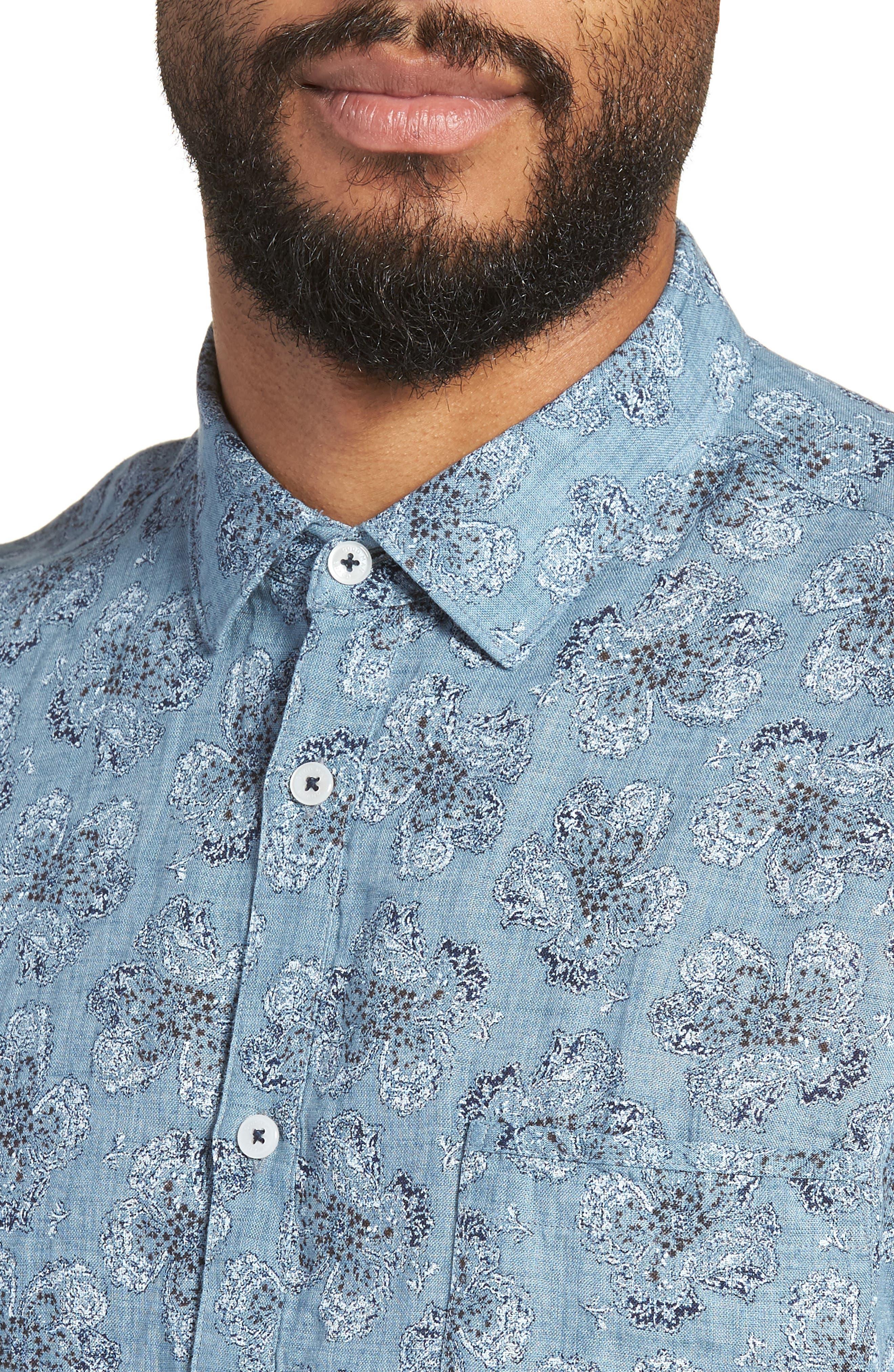 Tokyo Slim Fit Floral Short Sleeve Sport Shirt,                             Alternate thumbnail 4, color,                             INDIGO