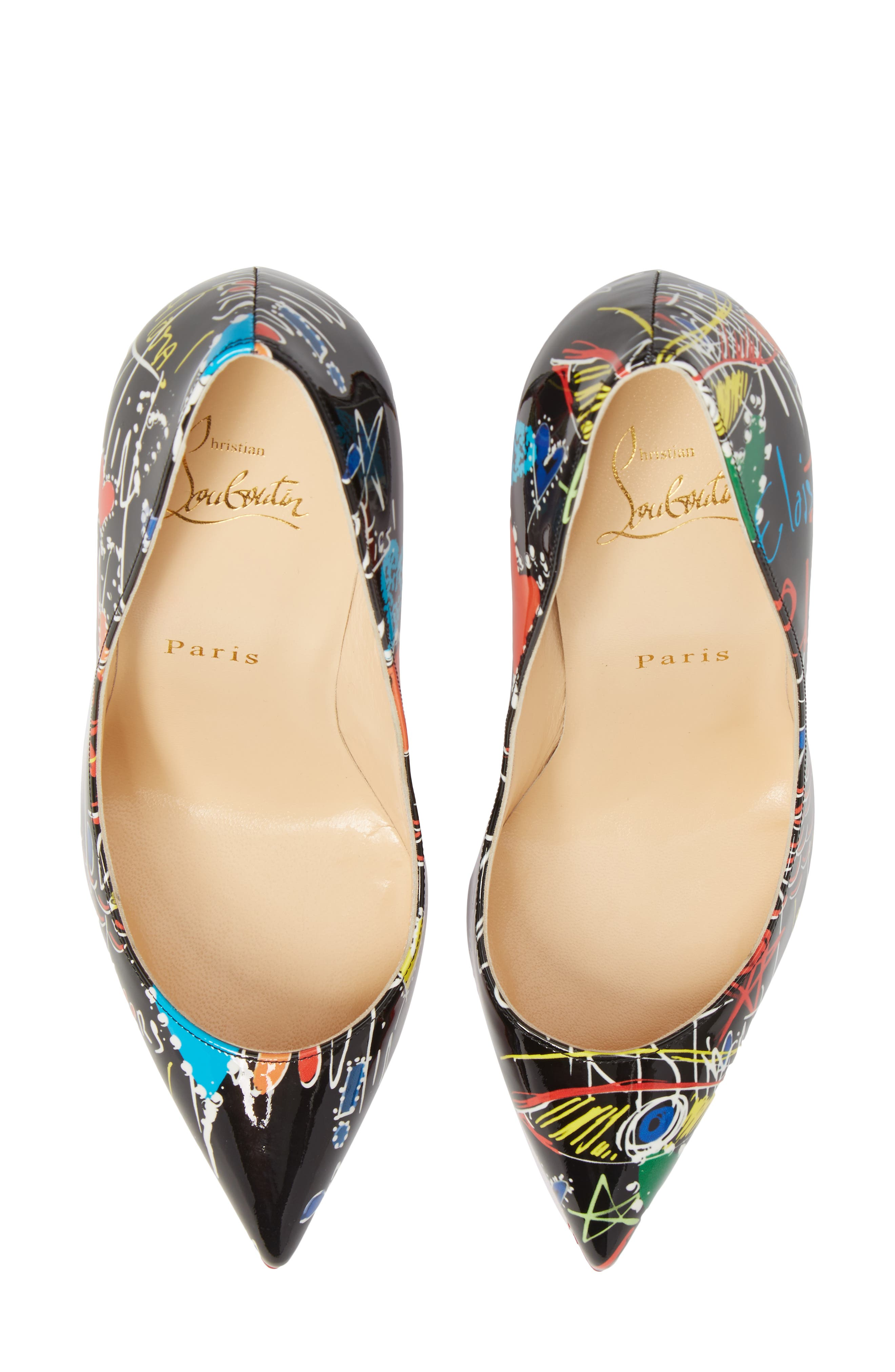 Pigalle Loubitag Pointy Toe Pump,                             Alternate thumbnail 5, color,                             001