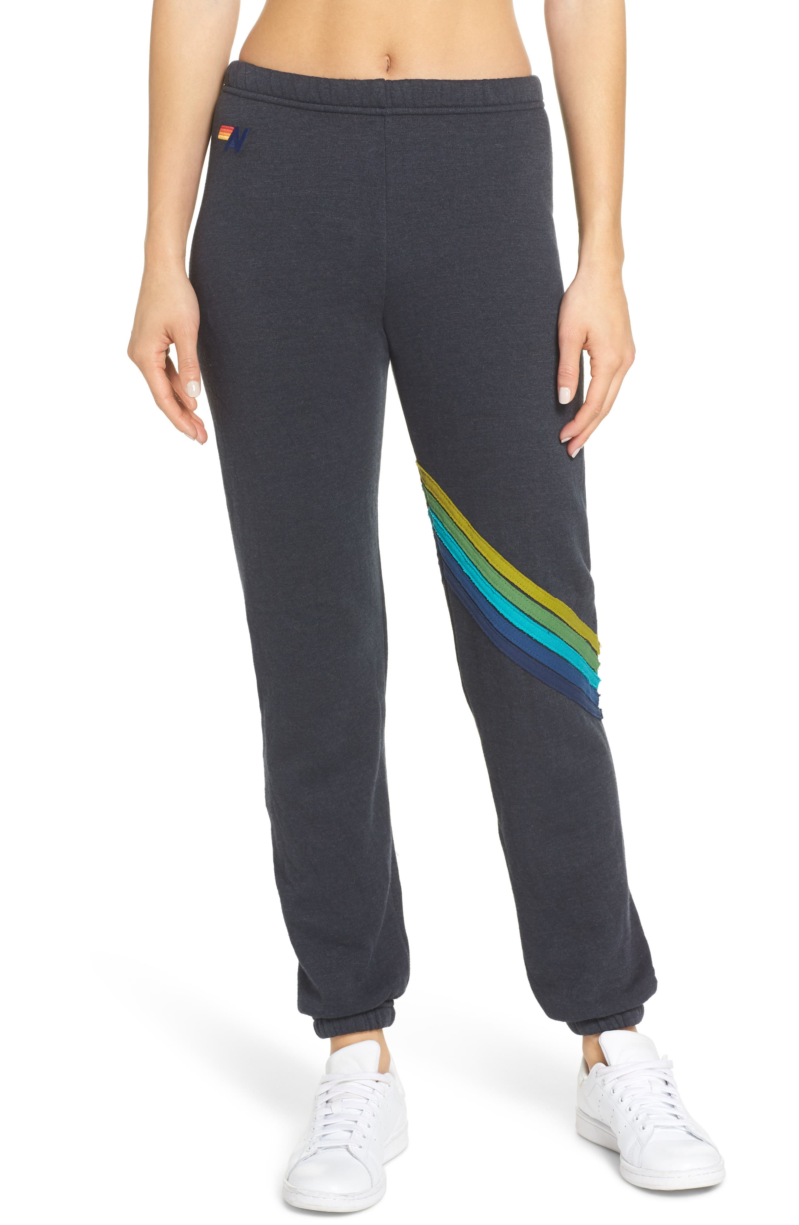 Chevron Stripe Sweatpants,                             Main thumbnail 1, color,                             CHARCOAL/ GREEN