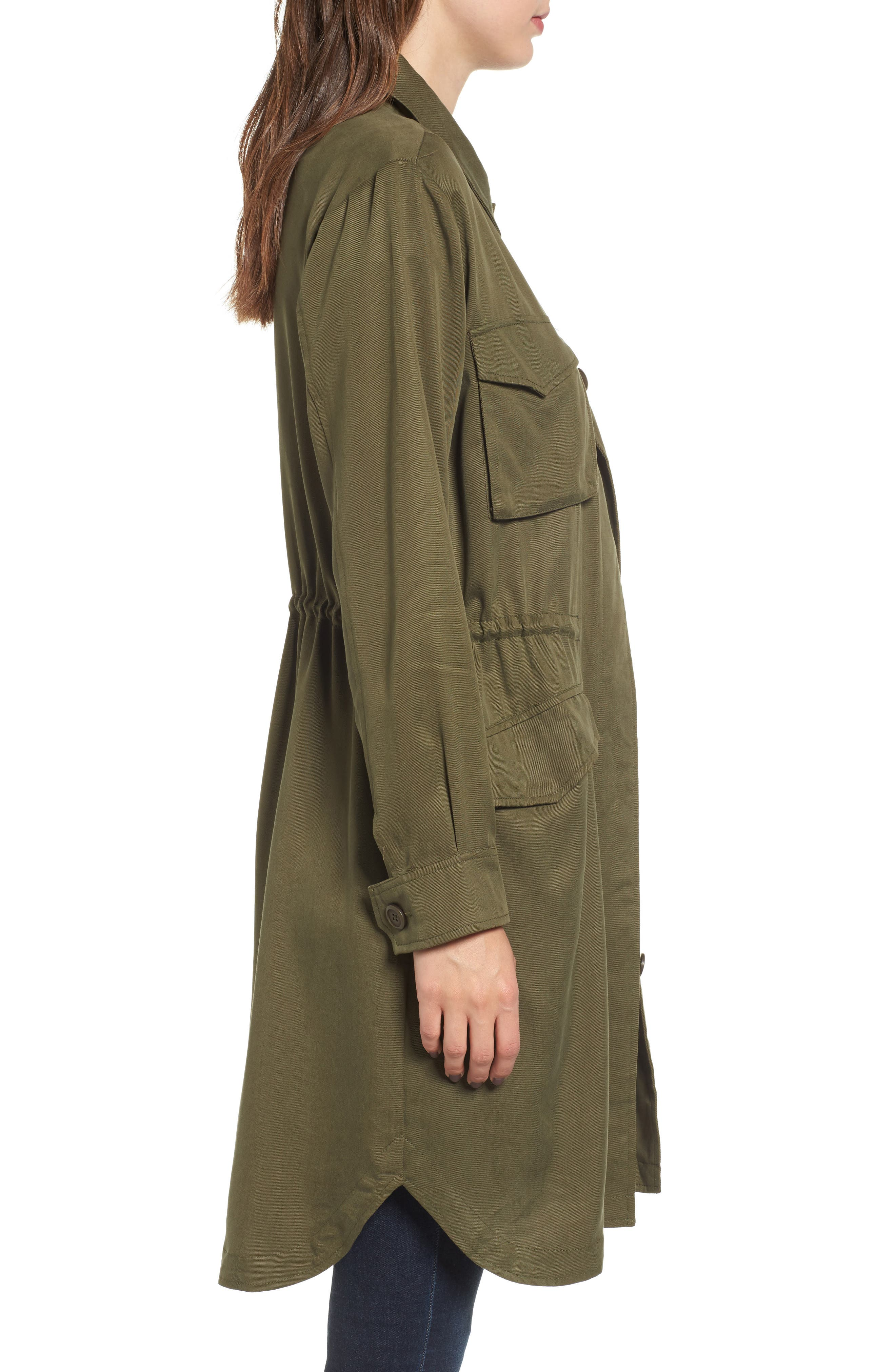 Averie Drawstring Waist Army Coat,                             Alternate thumbnail 4, color,
