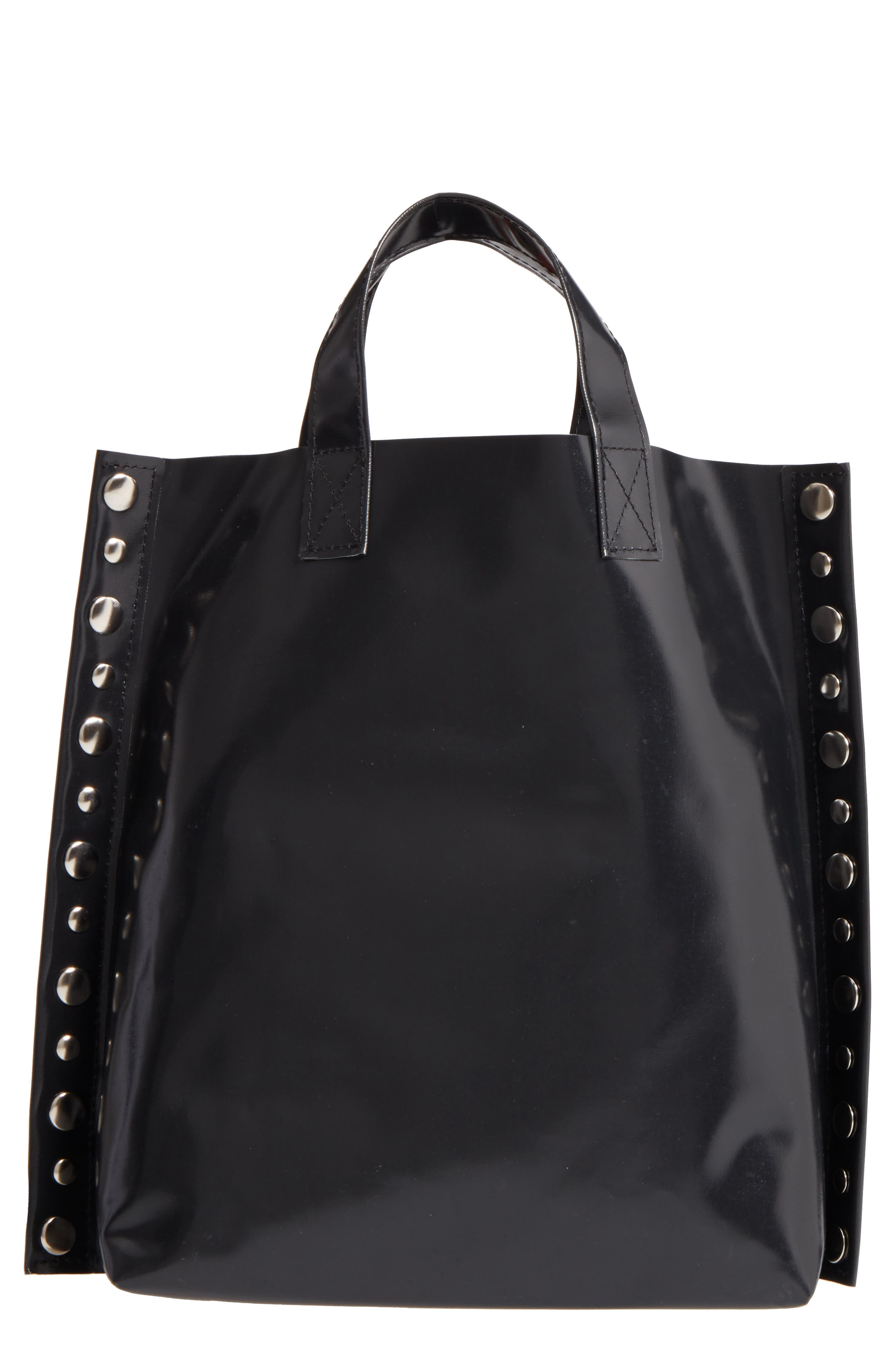 Studded Faux Leather Tote,                             Main thumbnail 1, color,                             001