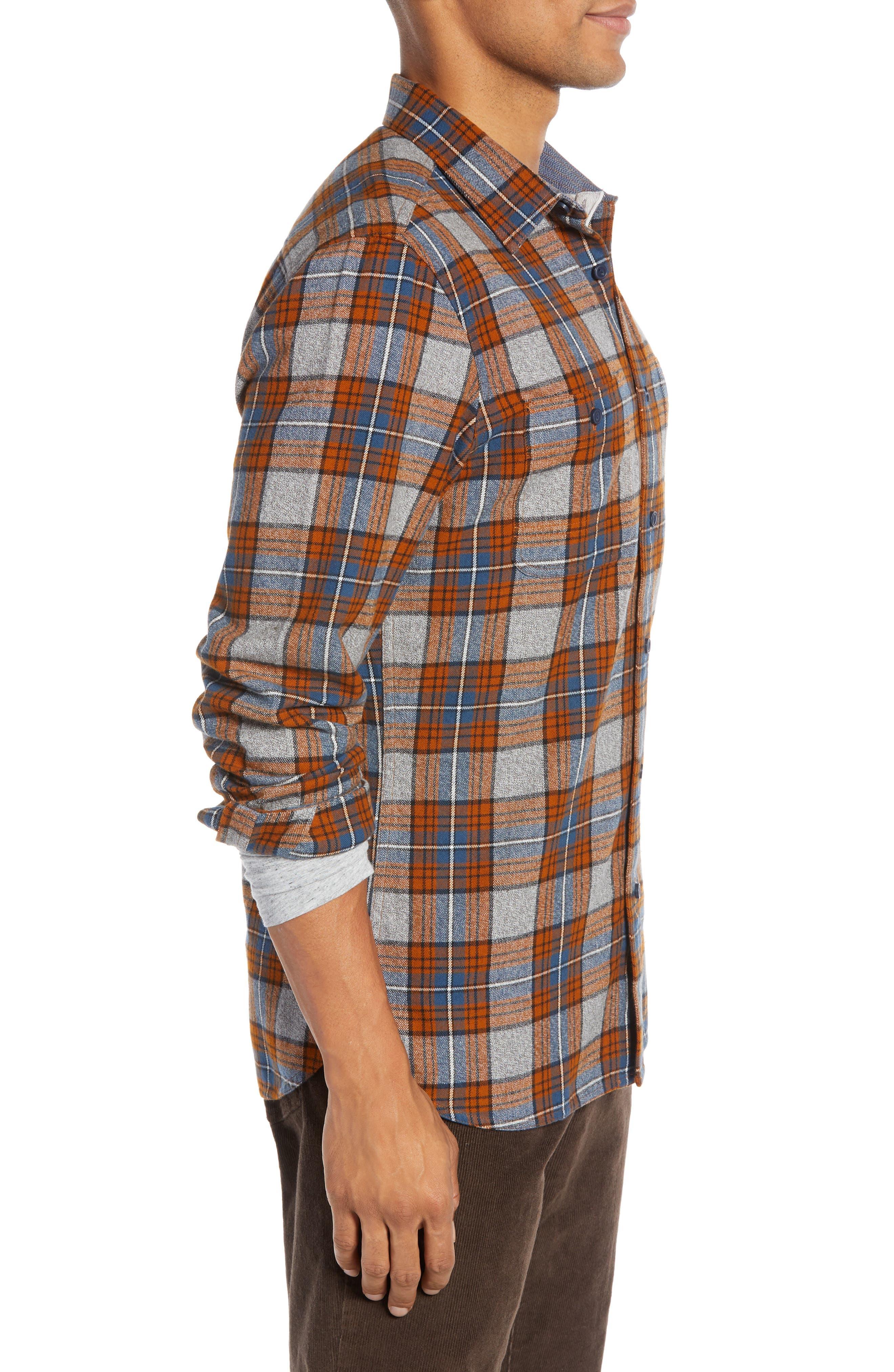 Regular Fit Workwear Plaid Flannel Shirt,                             Alternate thumbnail 3, color,                             RUST AUTUMN BLUE PLAID