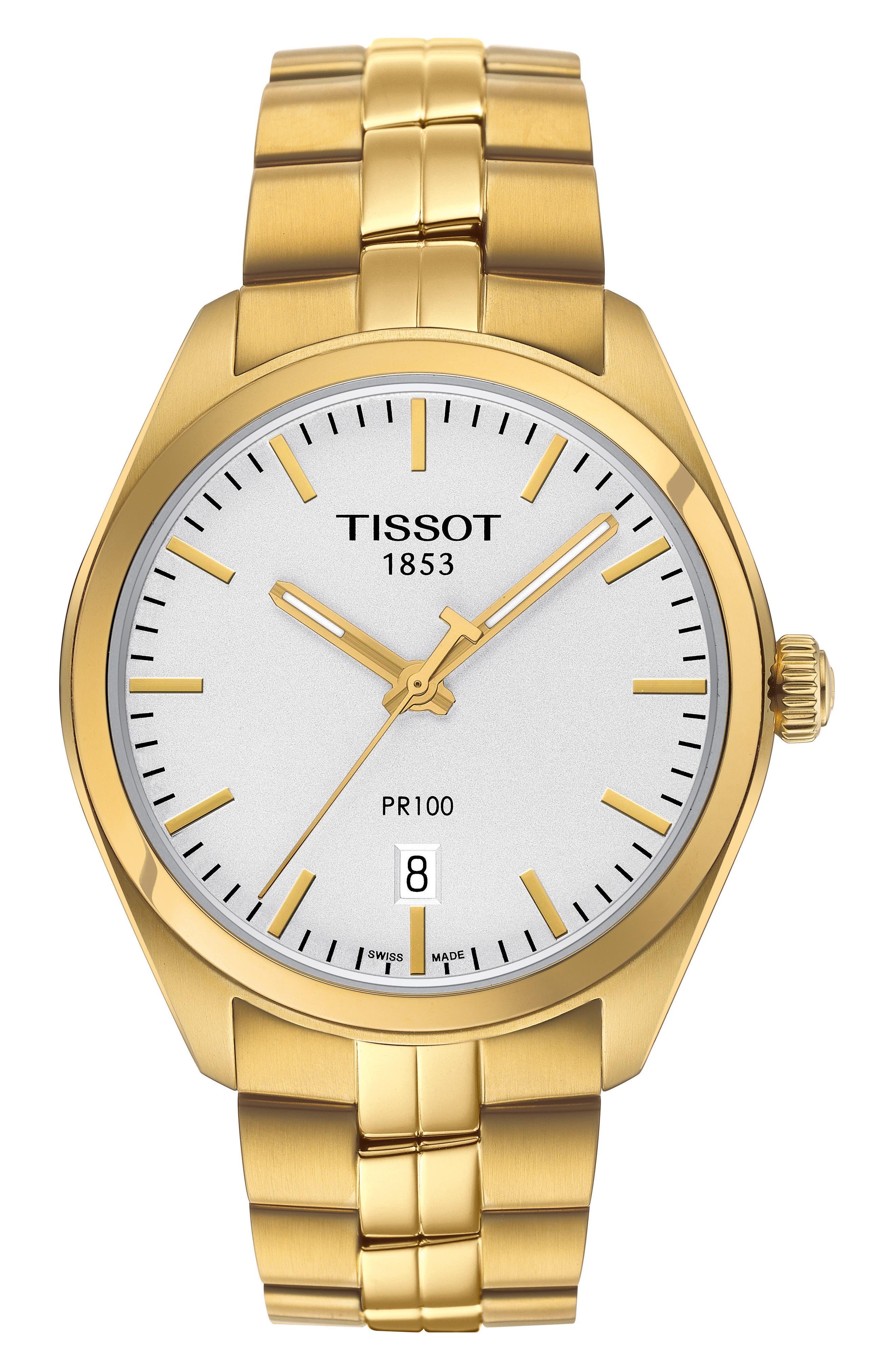 PR100 Bracelet Watch, 39mm,                             Main thumbnail 1, color,                             GOLD/ SILVER/ GOLD
