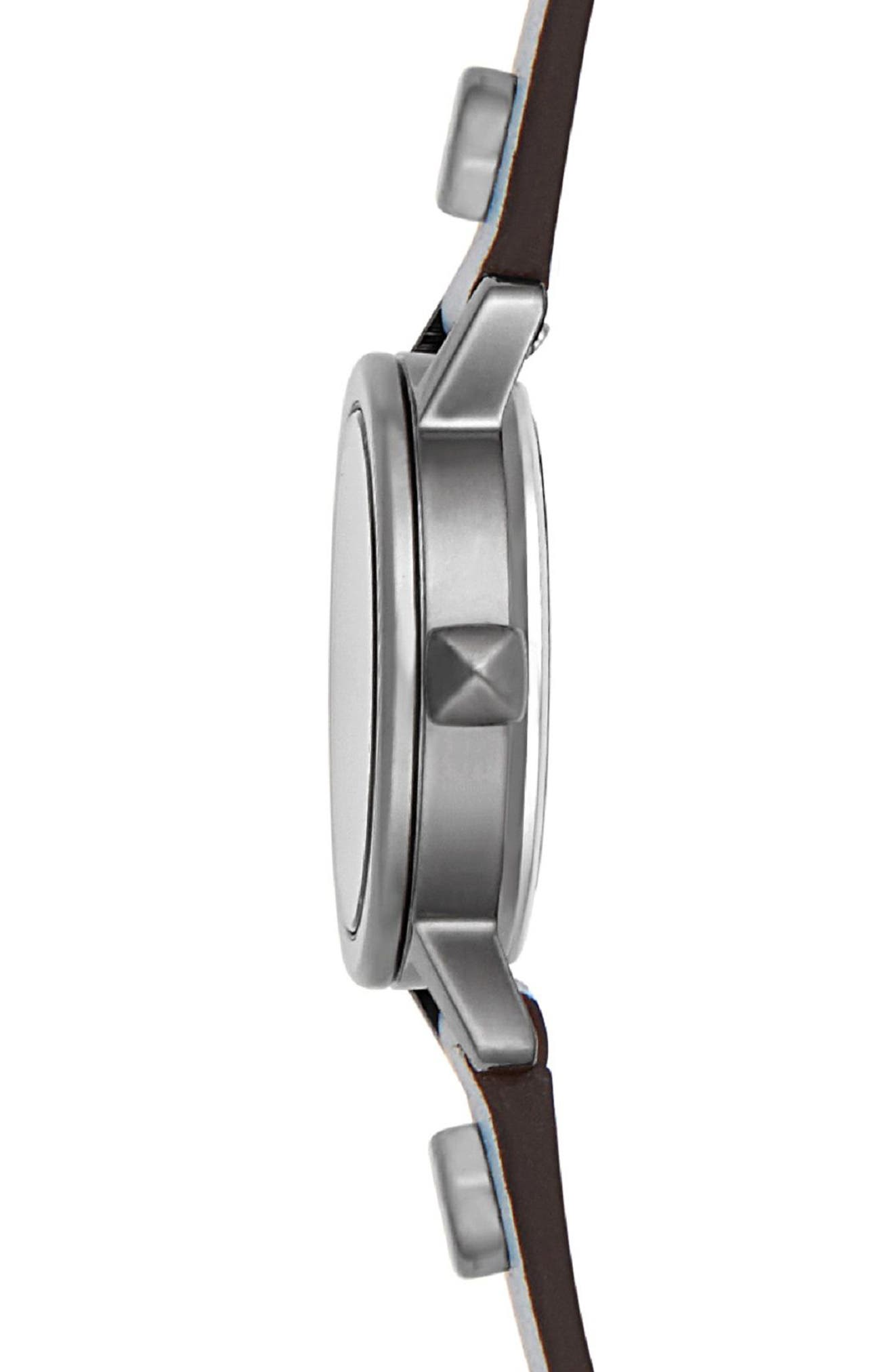 REBECCA MINKOFF,                             BFFLS Double Wrap Leather Strap Watch, 25mm,                             Alternate thumbnail 3, color,                             400