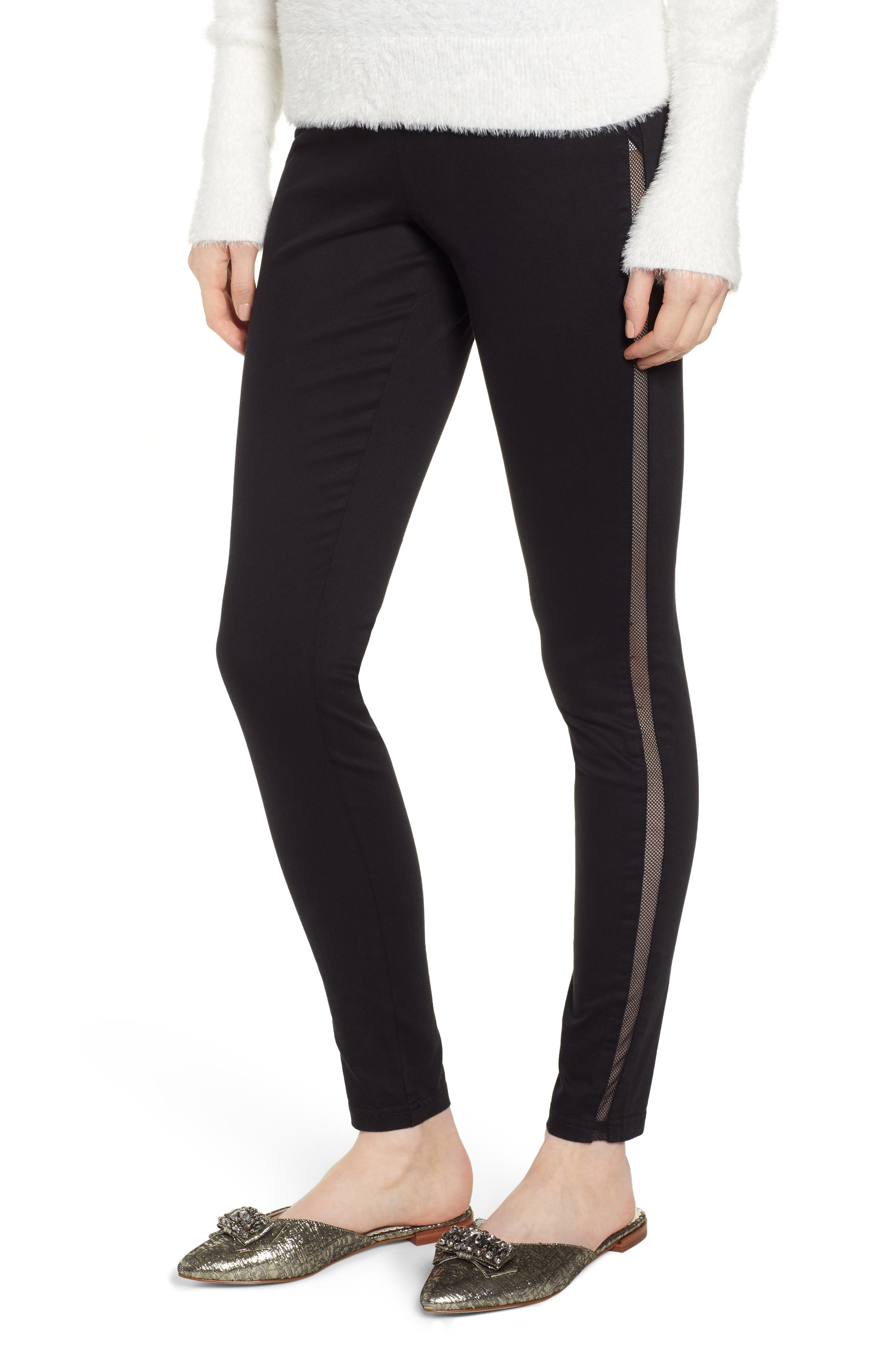 HUE,                             High Waist Mesh Tuxedo Stripe Denim Leggings,                             Main thumbnail 1, color,                             BLACK