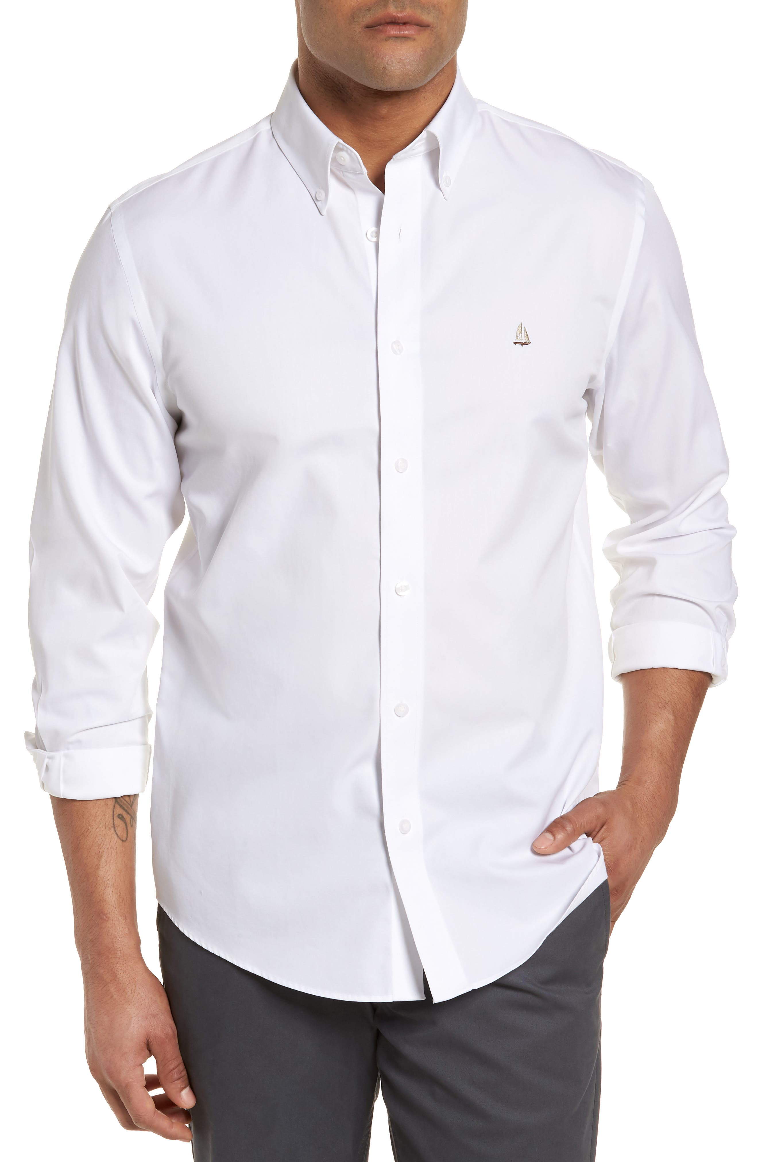 Nordstrom Shop Smartcare(TM) Traditional Fit Twill Boat Shirt, White