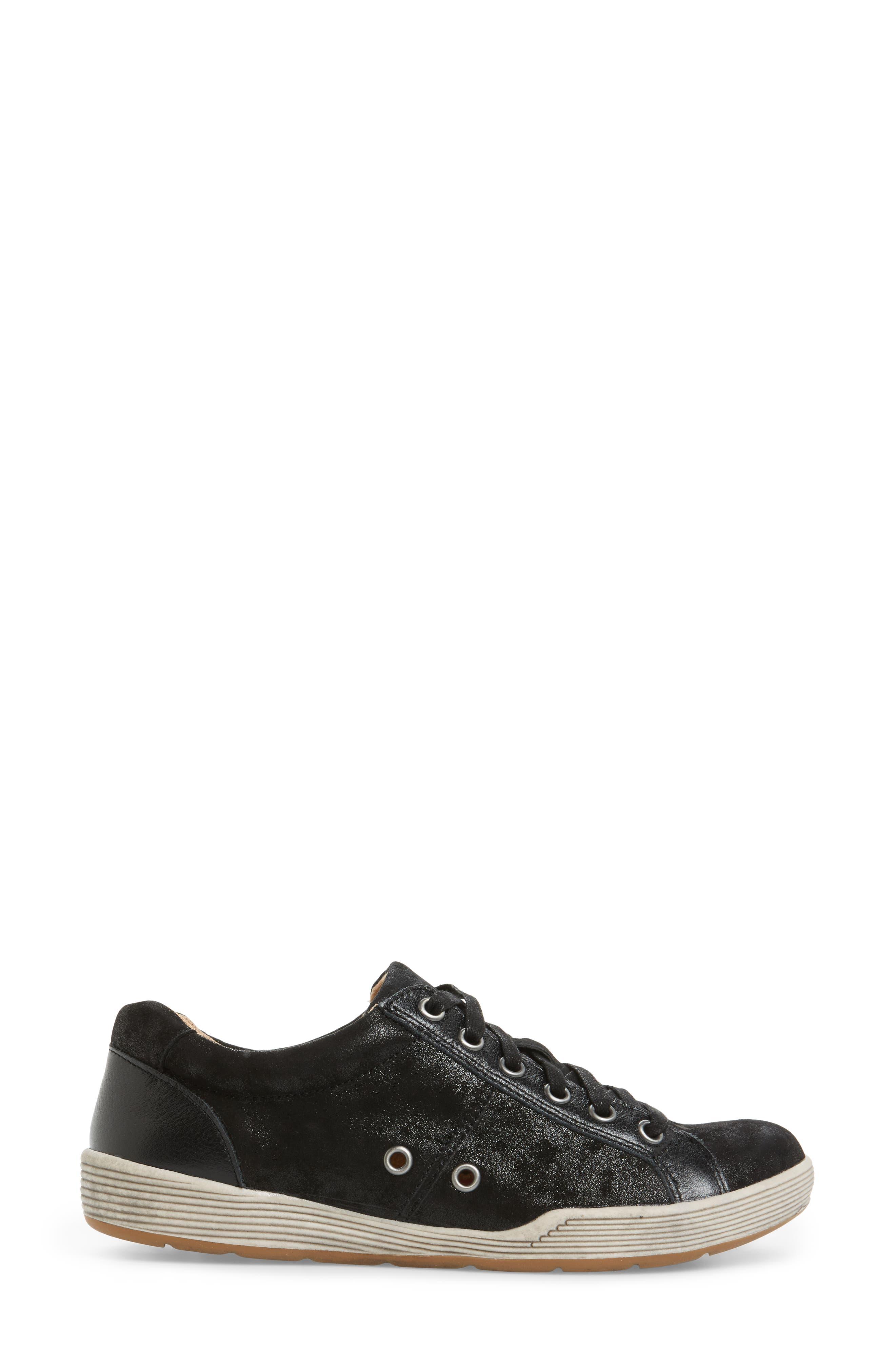 Lyons Low-Top Sneaker,                             Alternate thumbnail 3, color,                             BLACK SUEDE