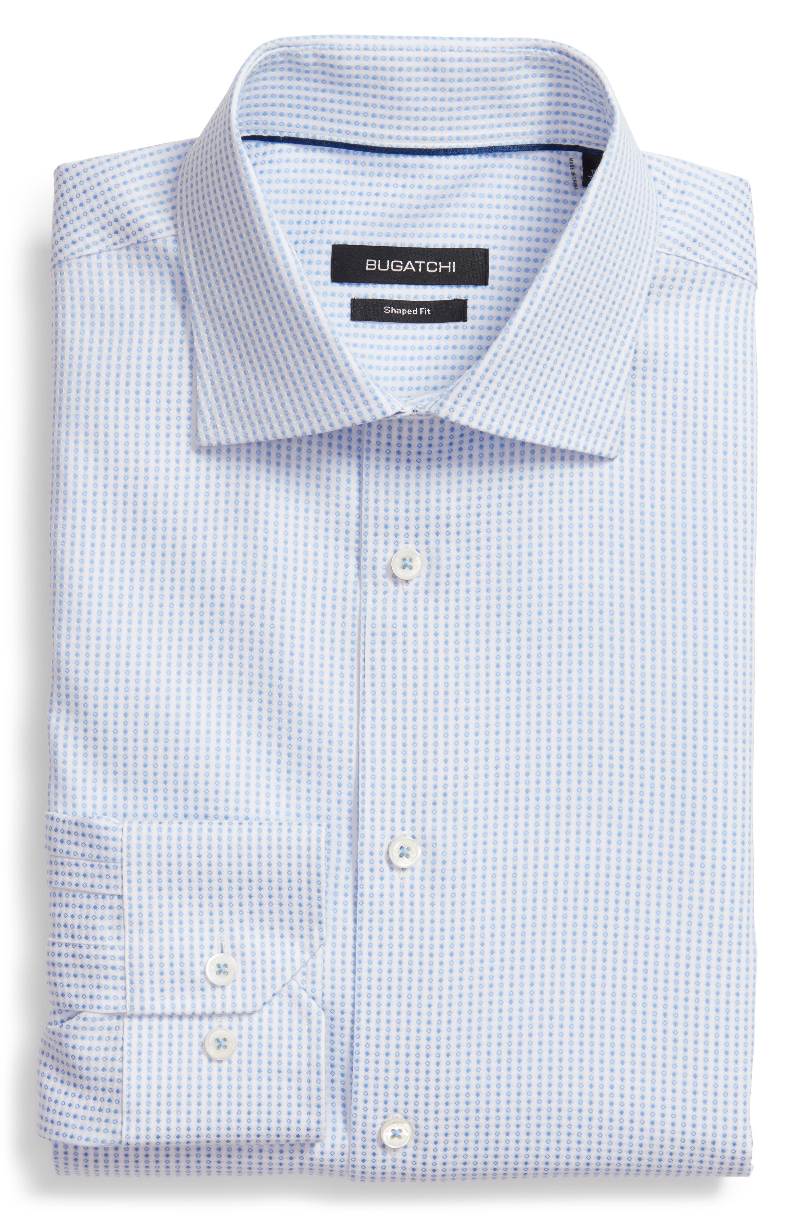 Shaped Fit Geometric Dress Shirt,                         Main,                         color, 459