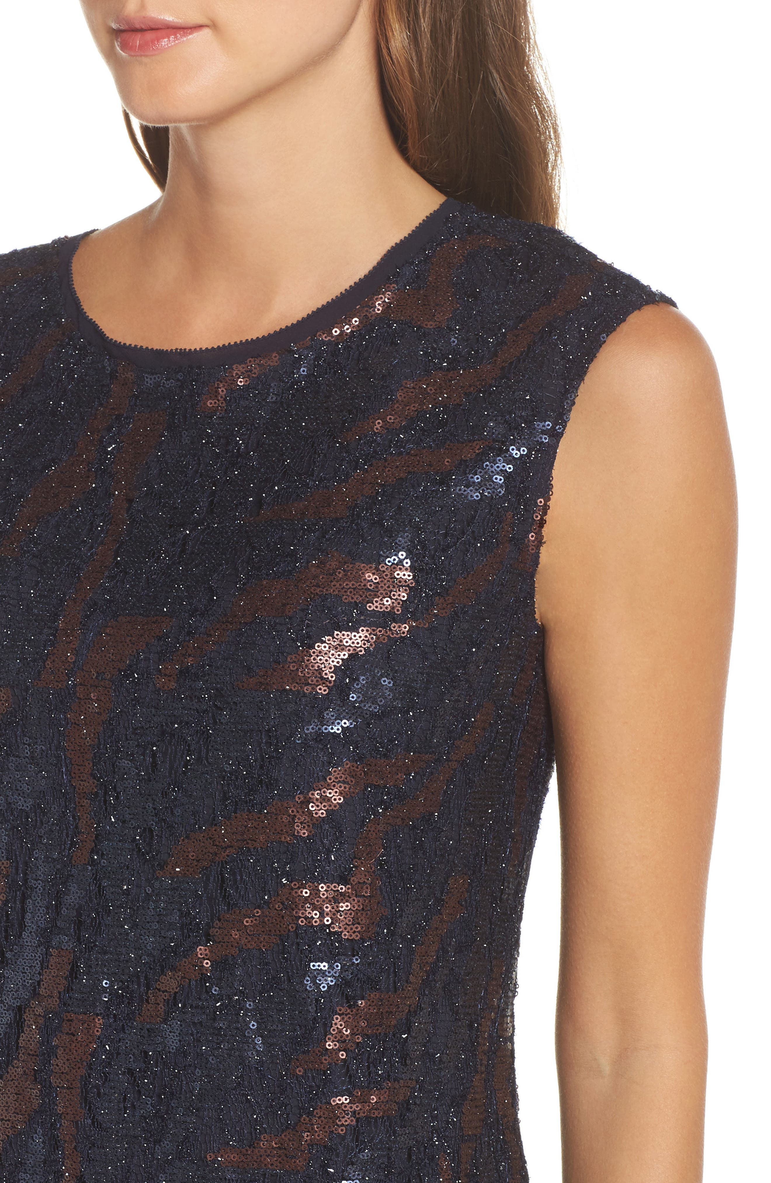 NIC + Zoe Sequin Lace Shift Dress,                             Alternate thumbnail 4, color,                             229