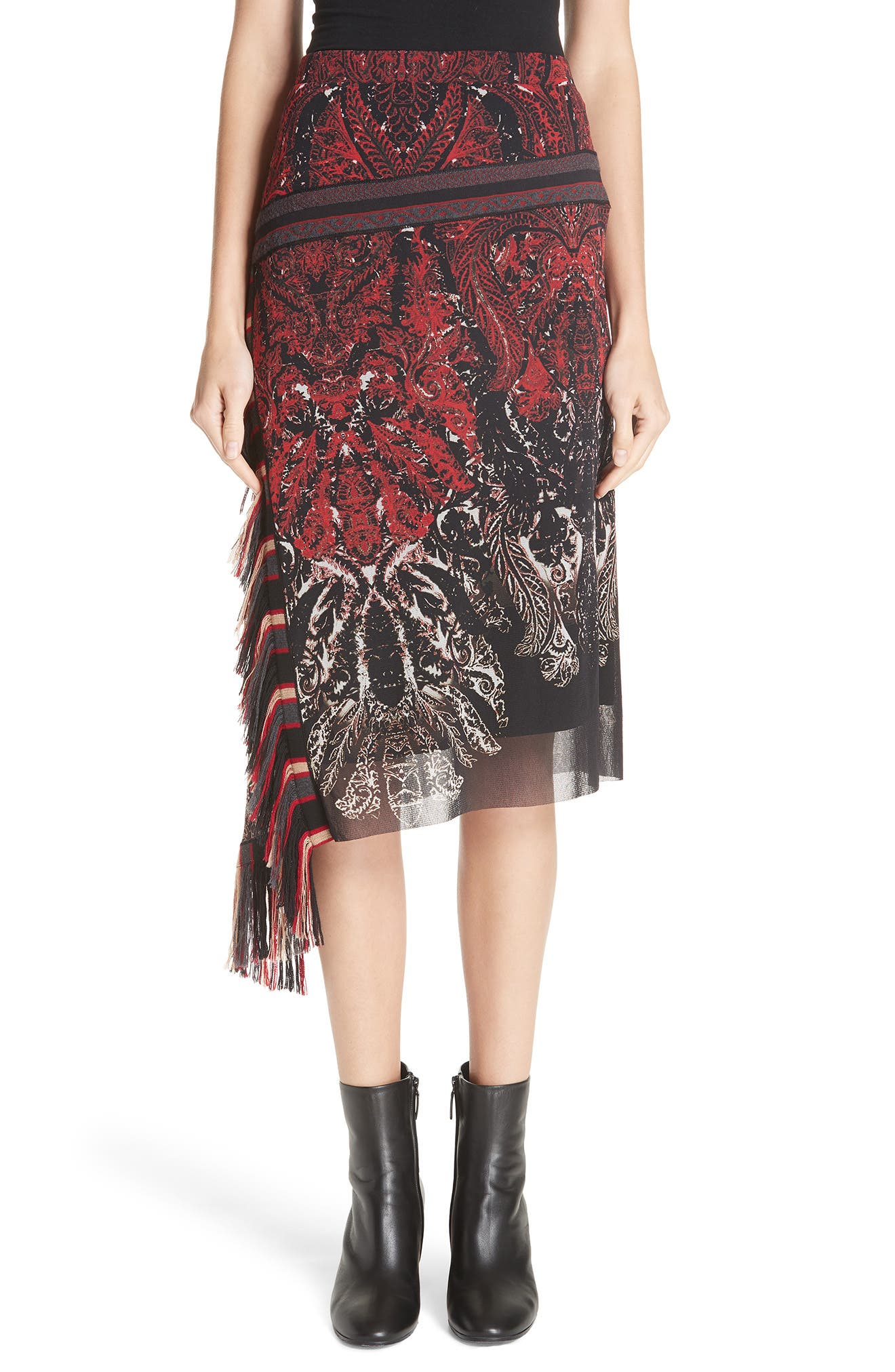 Feather-Print Asymmetric Skirt W/ Fringe in Rosso