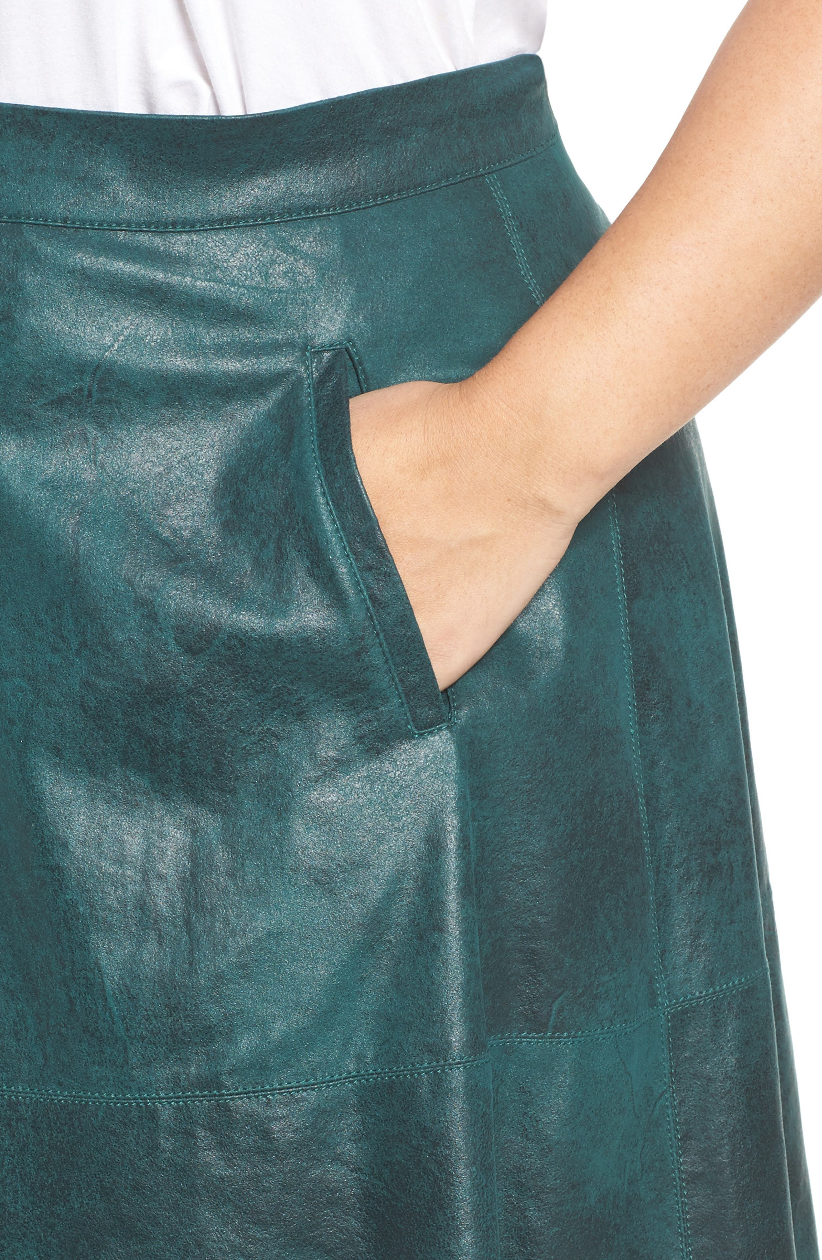 Stretch Faux Leather A-Line Skirt,                             Alternate thumbnail 8, color,