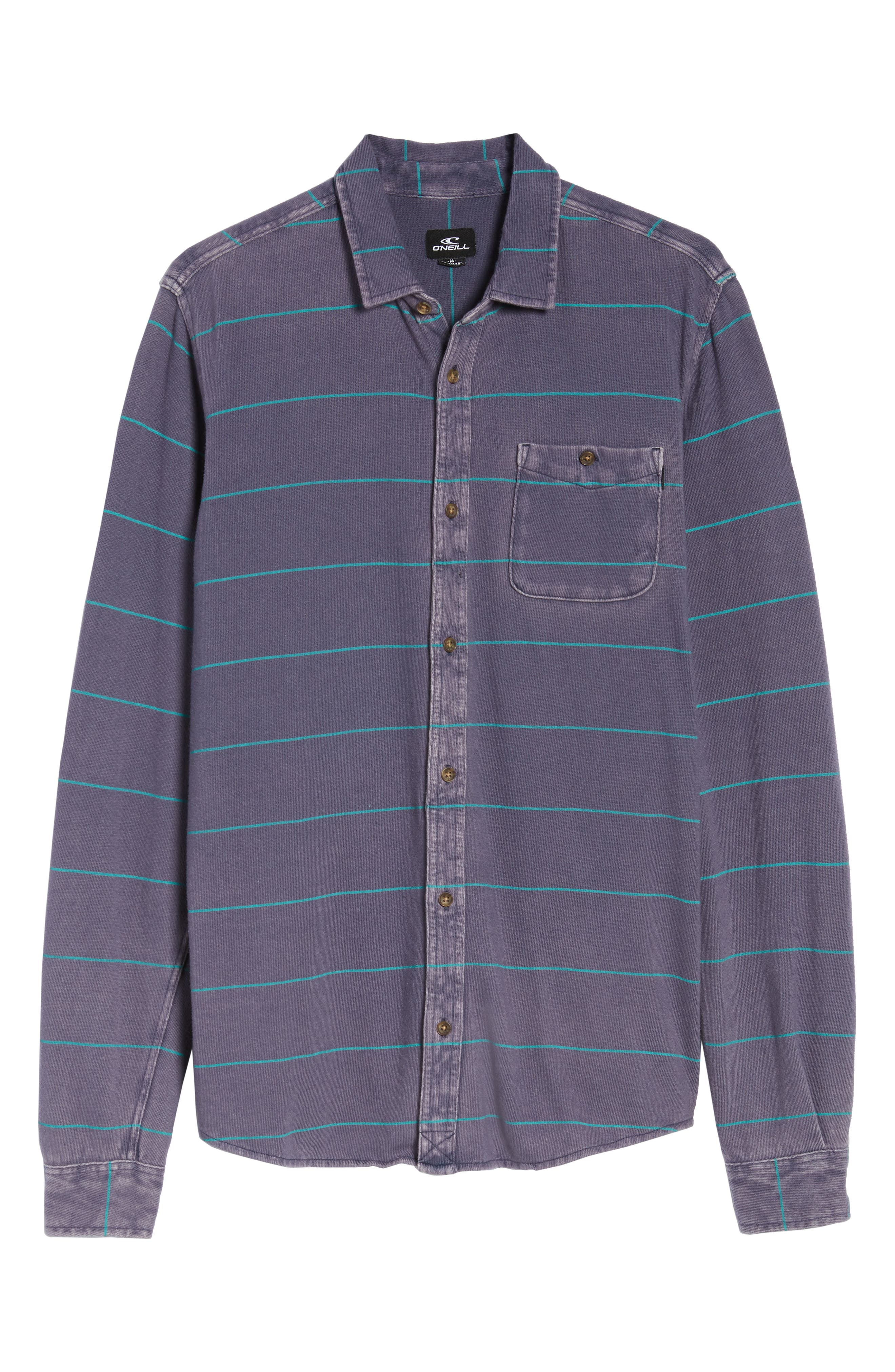 Cowell Knit Button-Up Shirt,                             Alternate thumbnail 6, color,                             NAVY