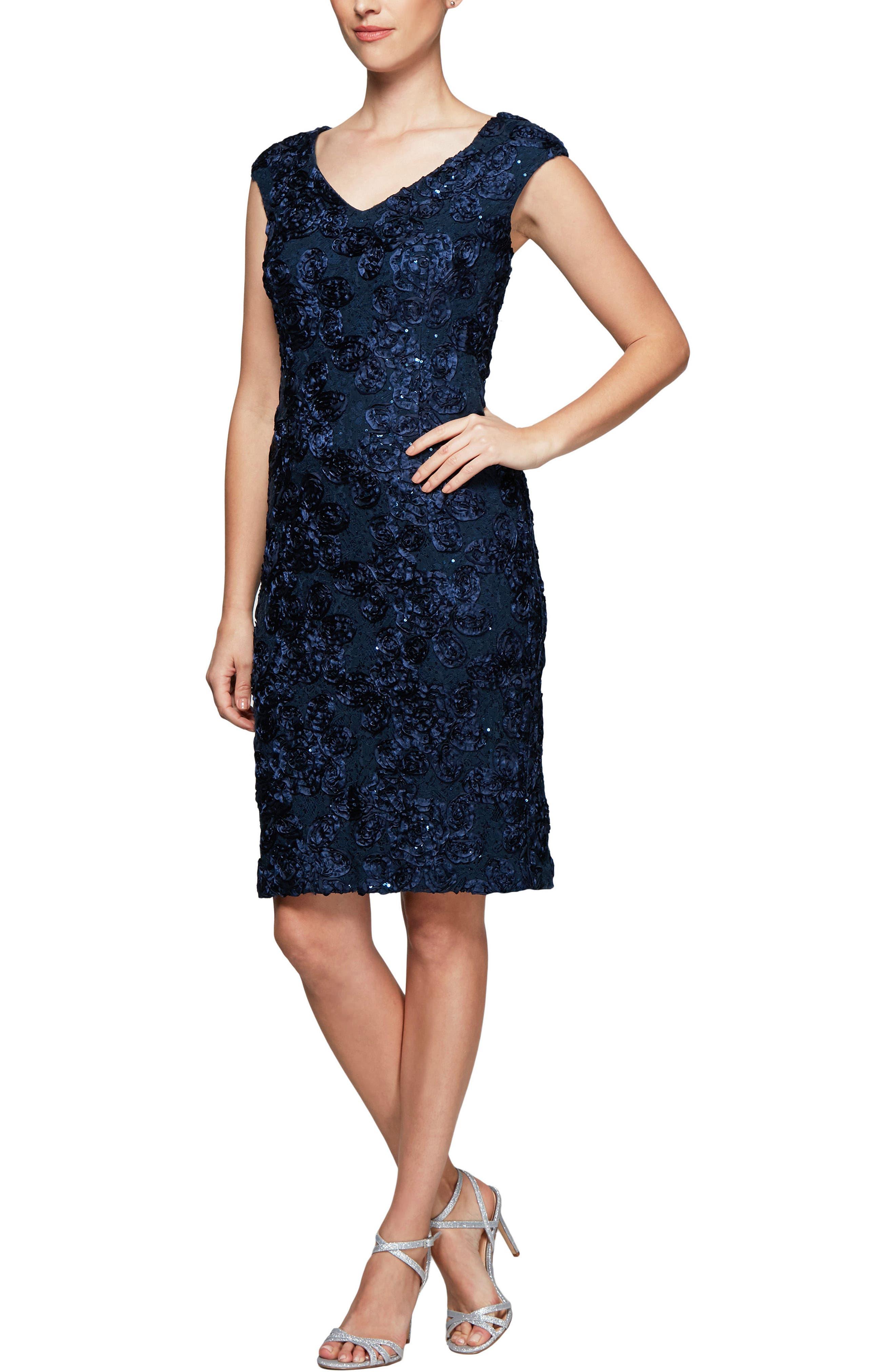 Alex Evening Rosette Sheath Dress,                             Main thumbnail 1, color,                             410