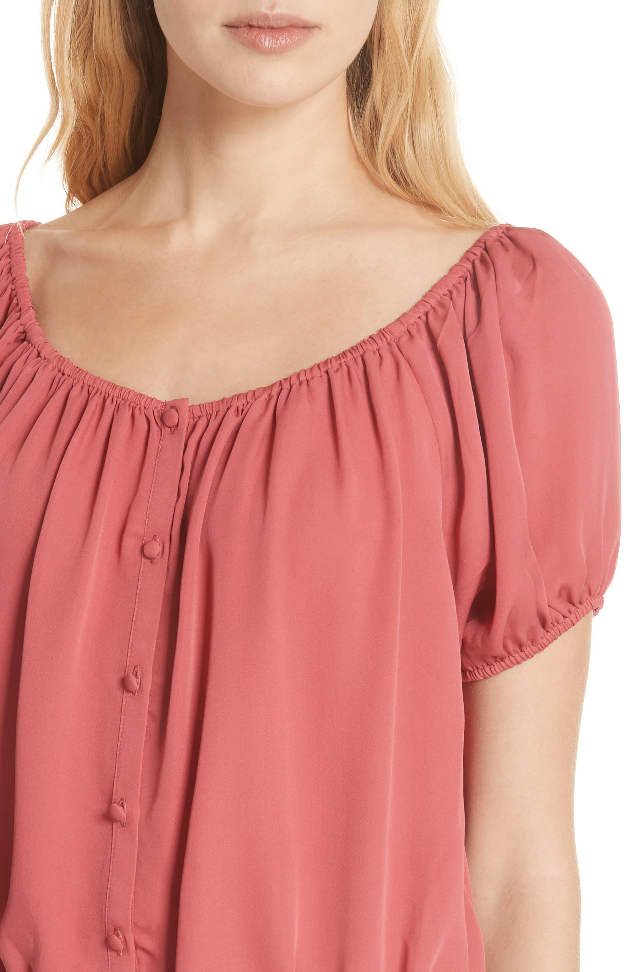 Blesina Tie Front Short Sleeve Silk Blouse,                             Alternate thumbnail 4, color,                             651