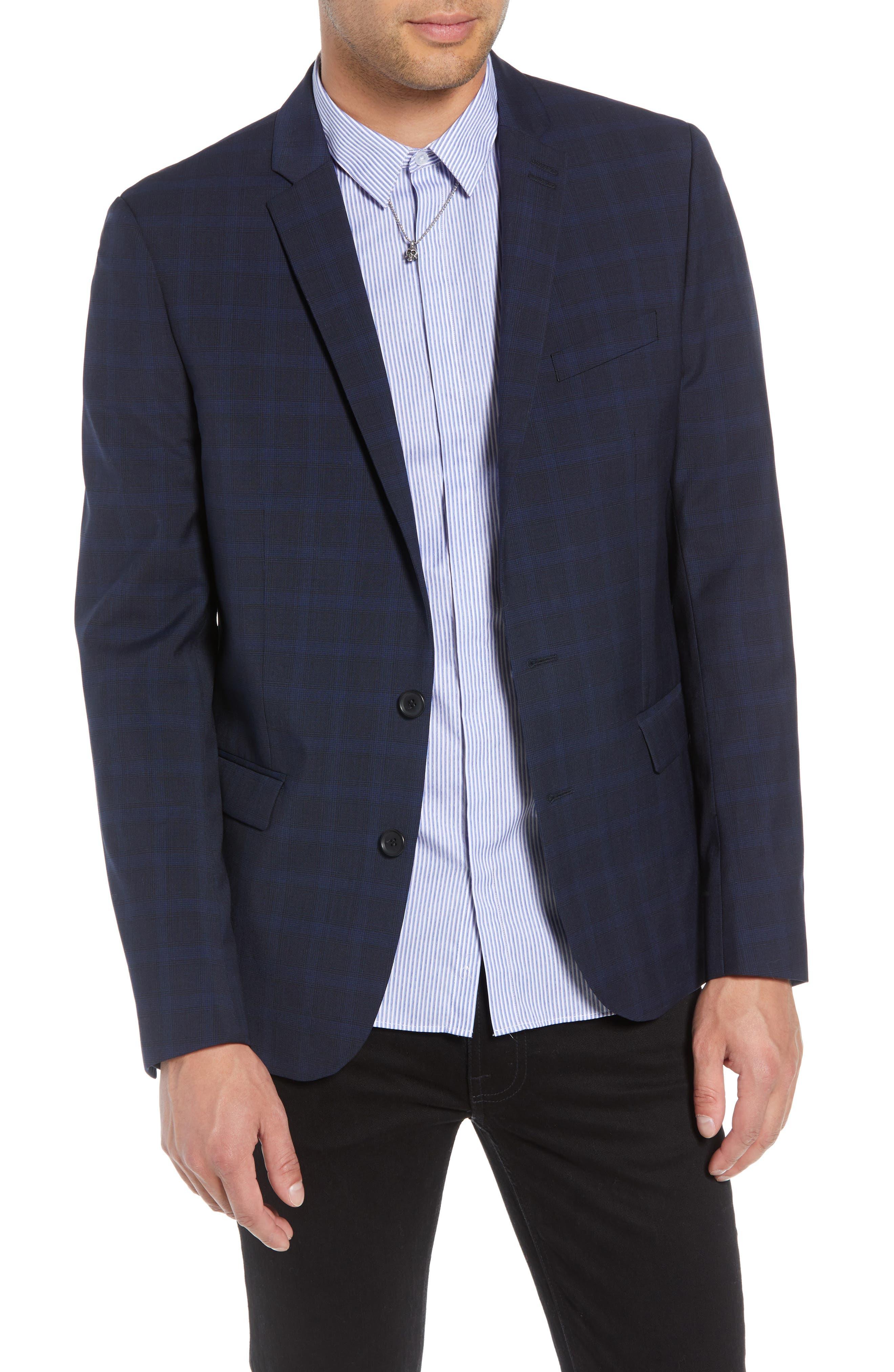 Slim Fit Check Blazer,                             Main thumbnail 1, color,                             BLUE