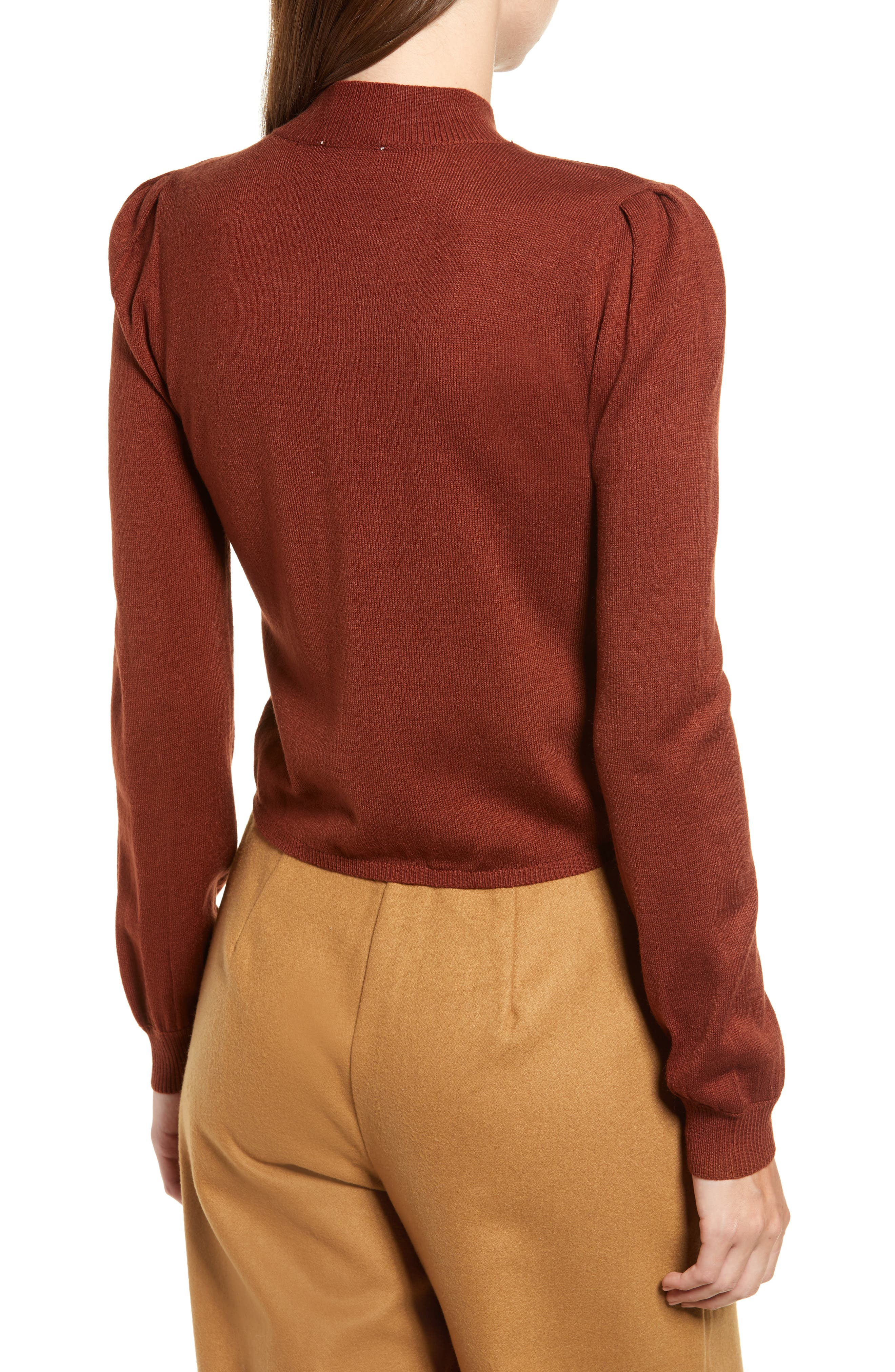 Chriselle Lim Madison Ruched Sweater,                             Alternate thumbnail 3, color,                             RUST