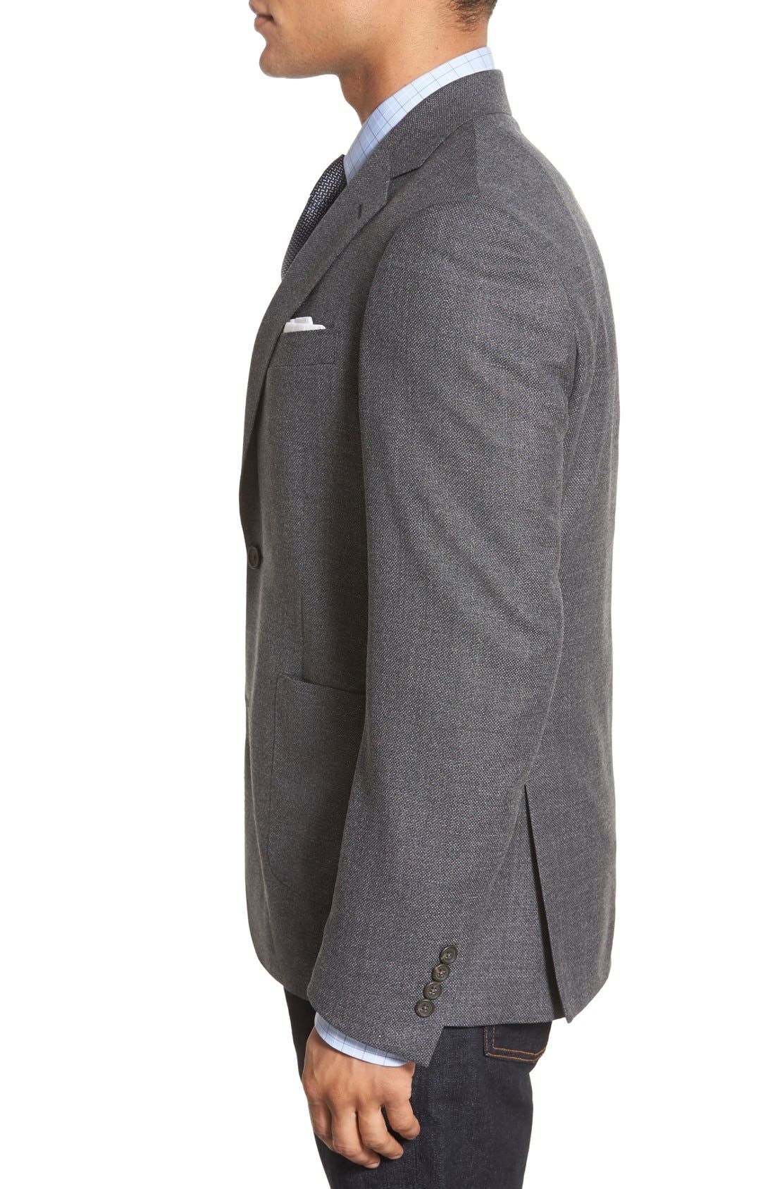 Classic Fit Hopsack Wool Blazer,                             Alternate thumbnail 4, color,                             020