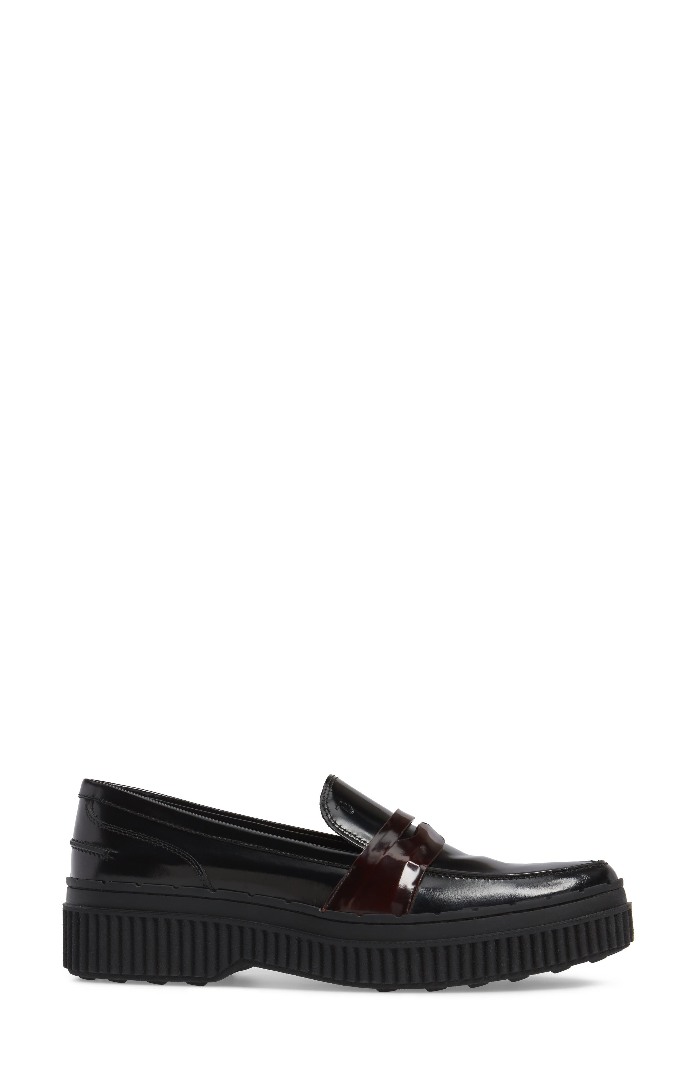 Penny Creeper Loafer,                             Alternate thumbnail 3, color,                             BLACK/ OXBLOOD