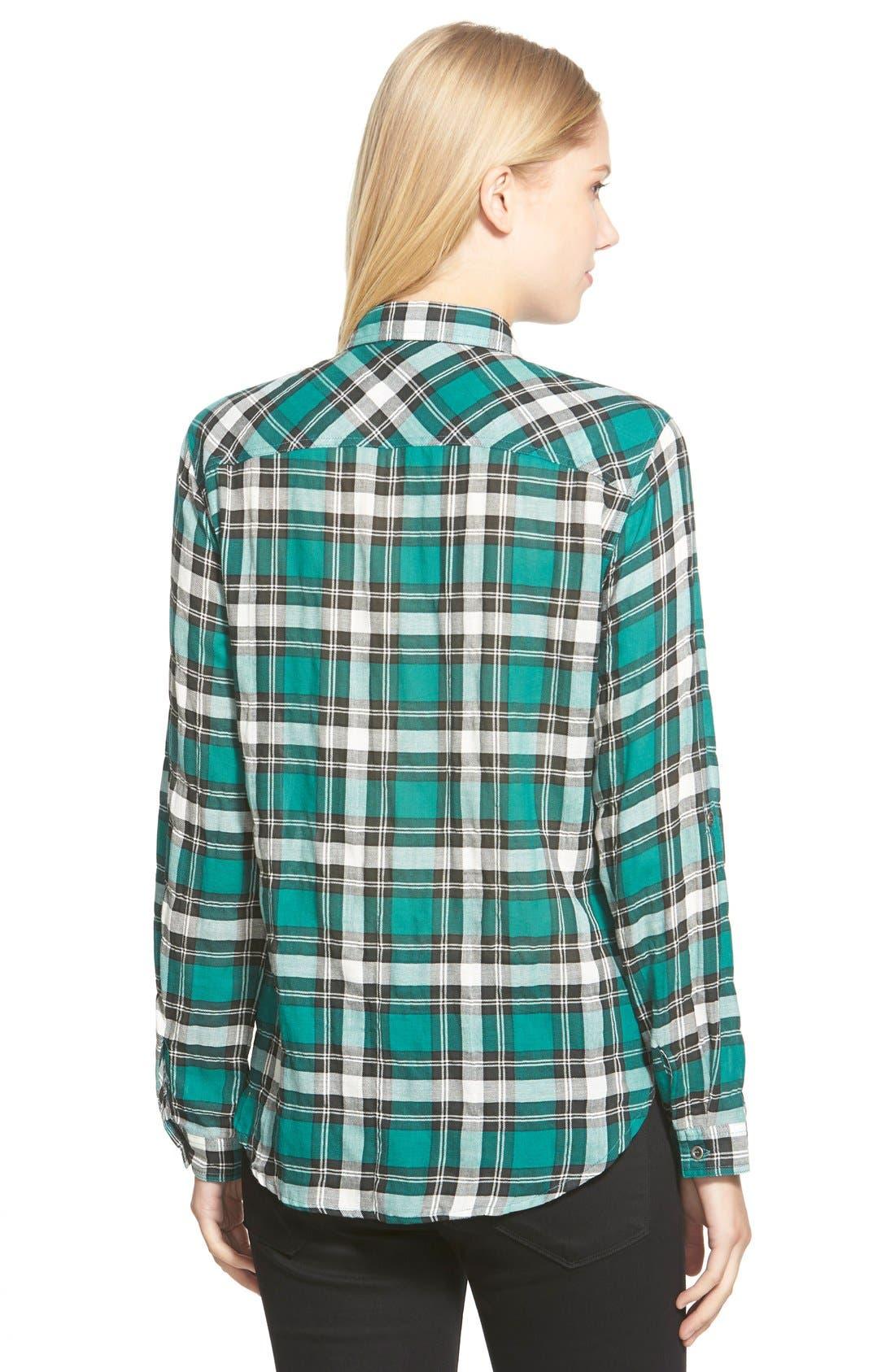 Roll Sleeve Woven Plaid Shirt,                             Alternate thumbnail 4, color,                             300