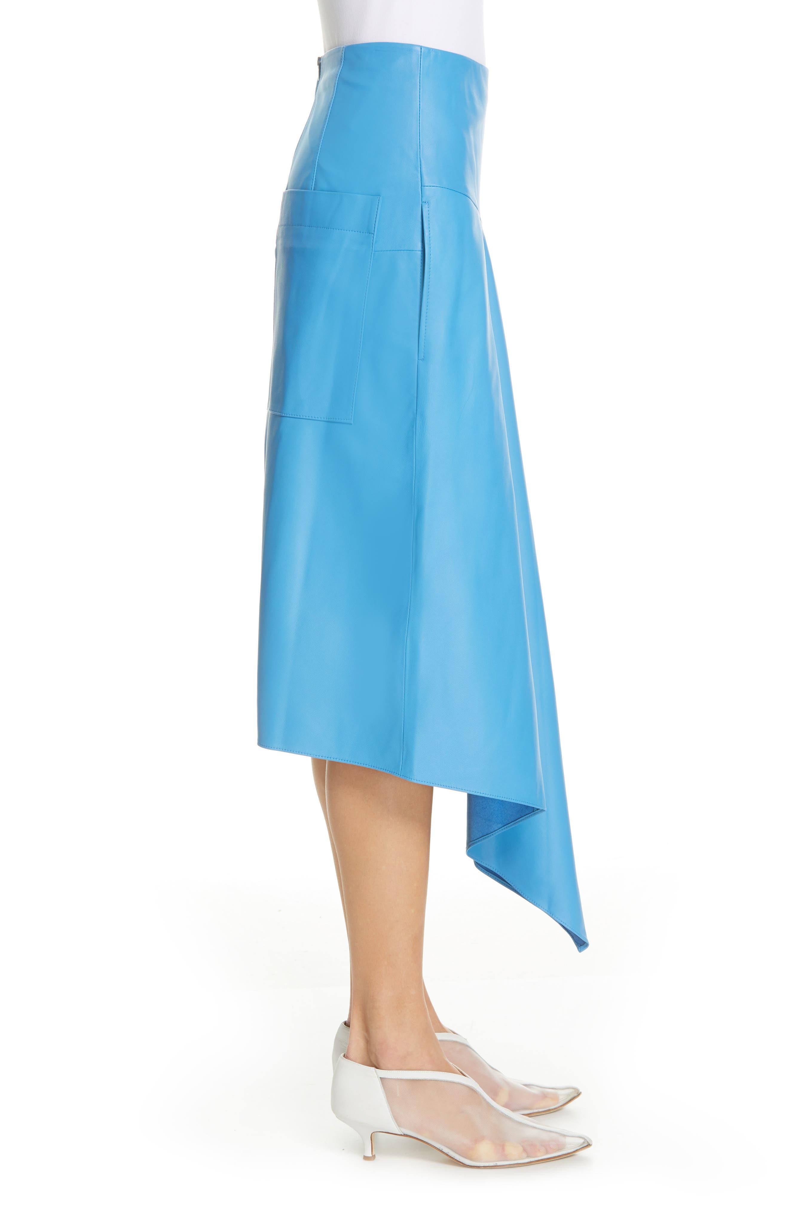 TIBI,                             Asymmetrical Drape Tissue Leather Skirt,                             Alternate thumbnail 3, color,                             OCEAN BLUE