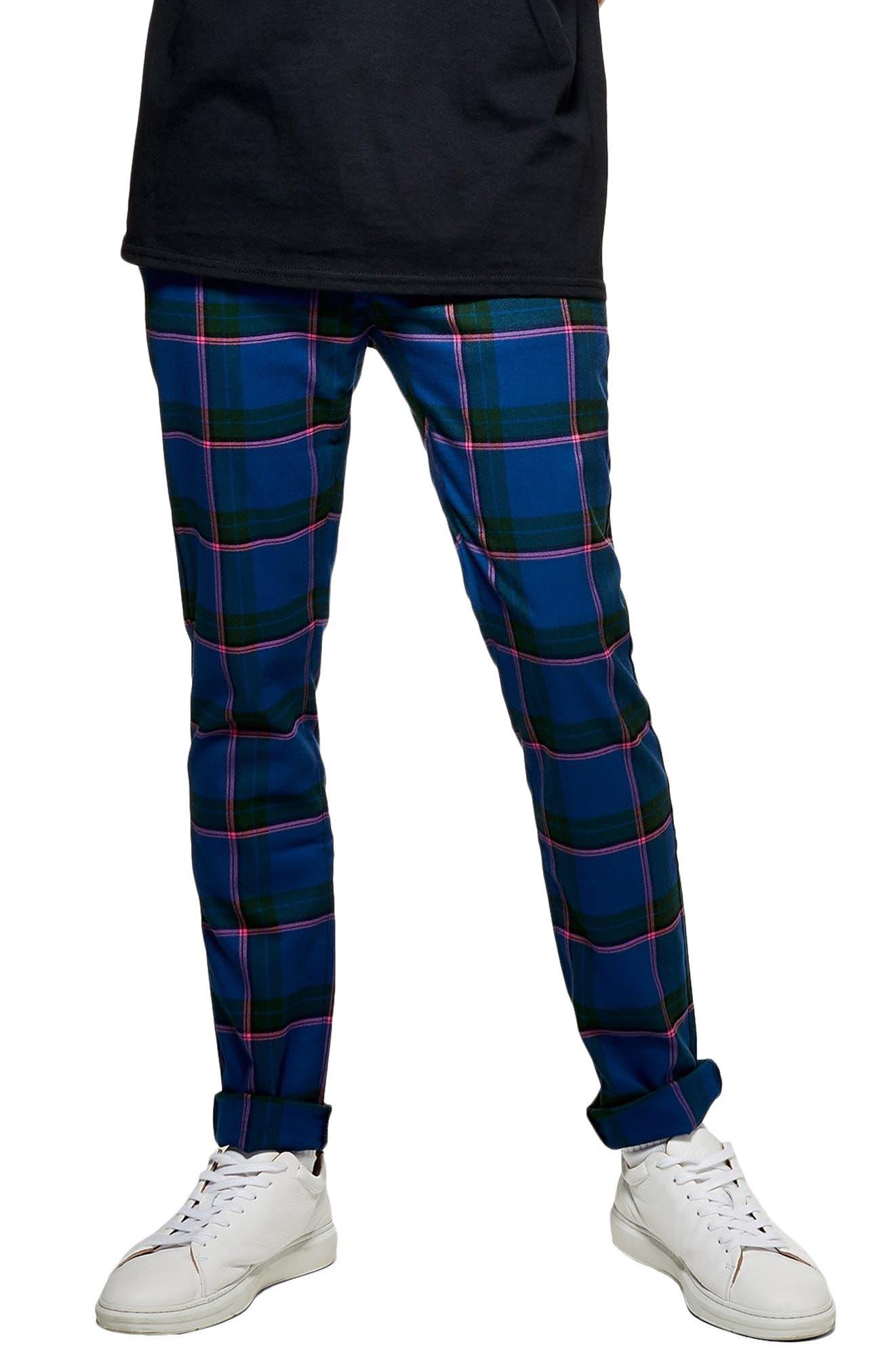 Mitchell Check Print Skinny Pants,                             Main thumbnail 1, color,                             BLUE MULTI