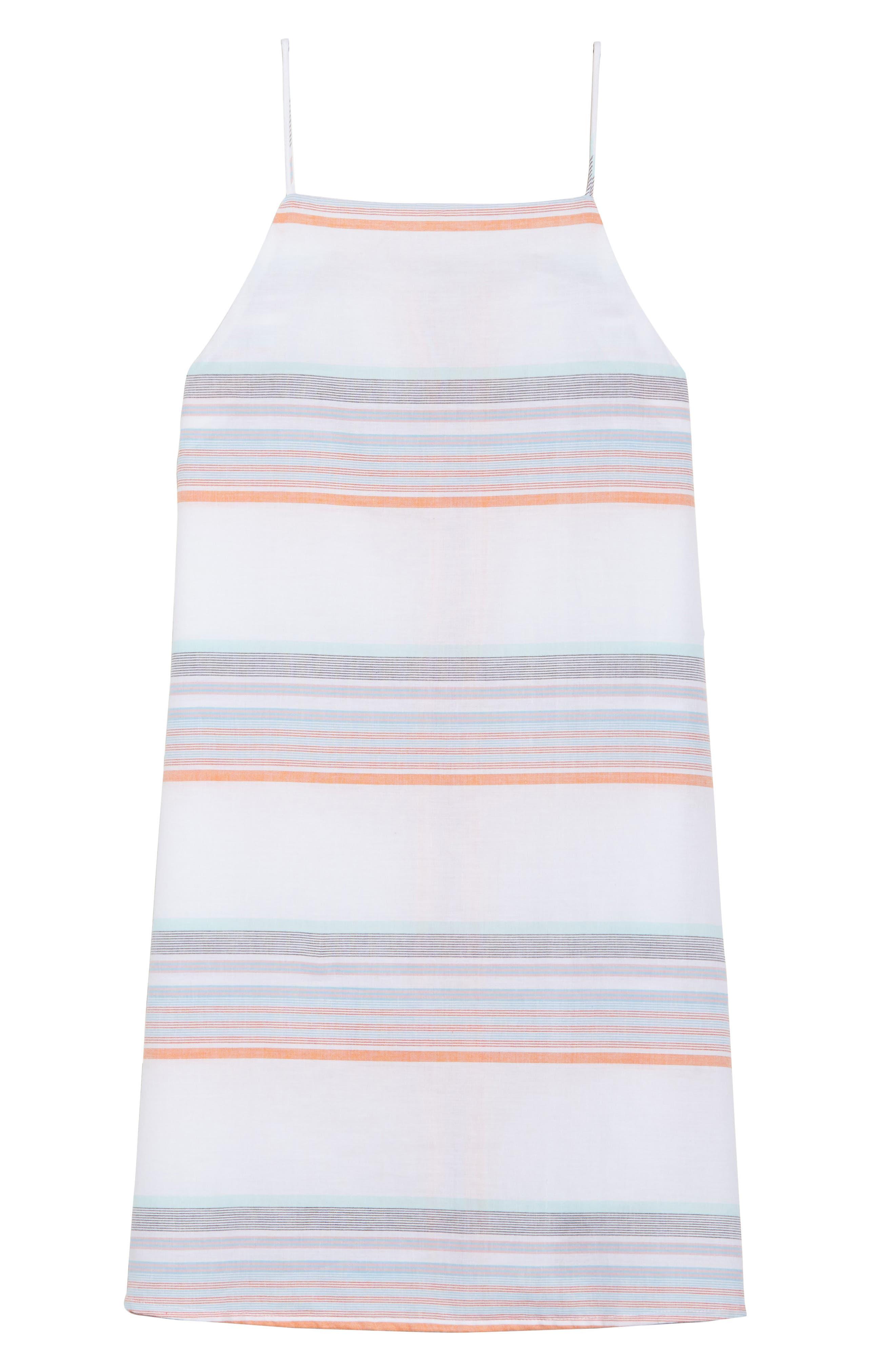 Sunset Stripe Cover-Up Dress,                             Alternate thumbnail 6, color,                             100