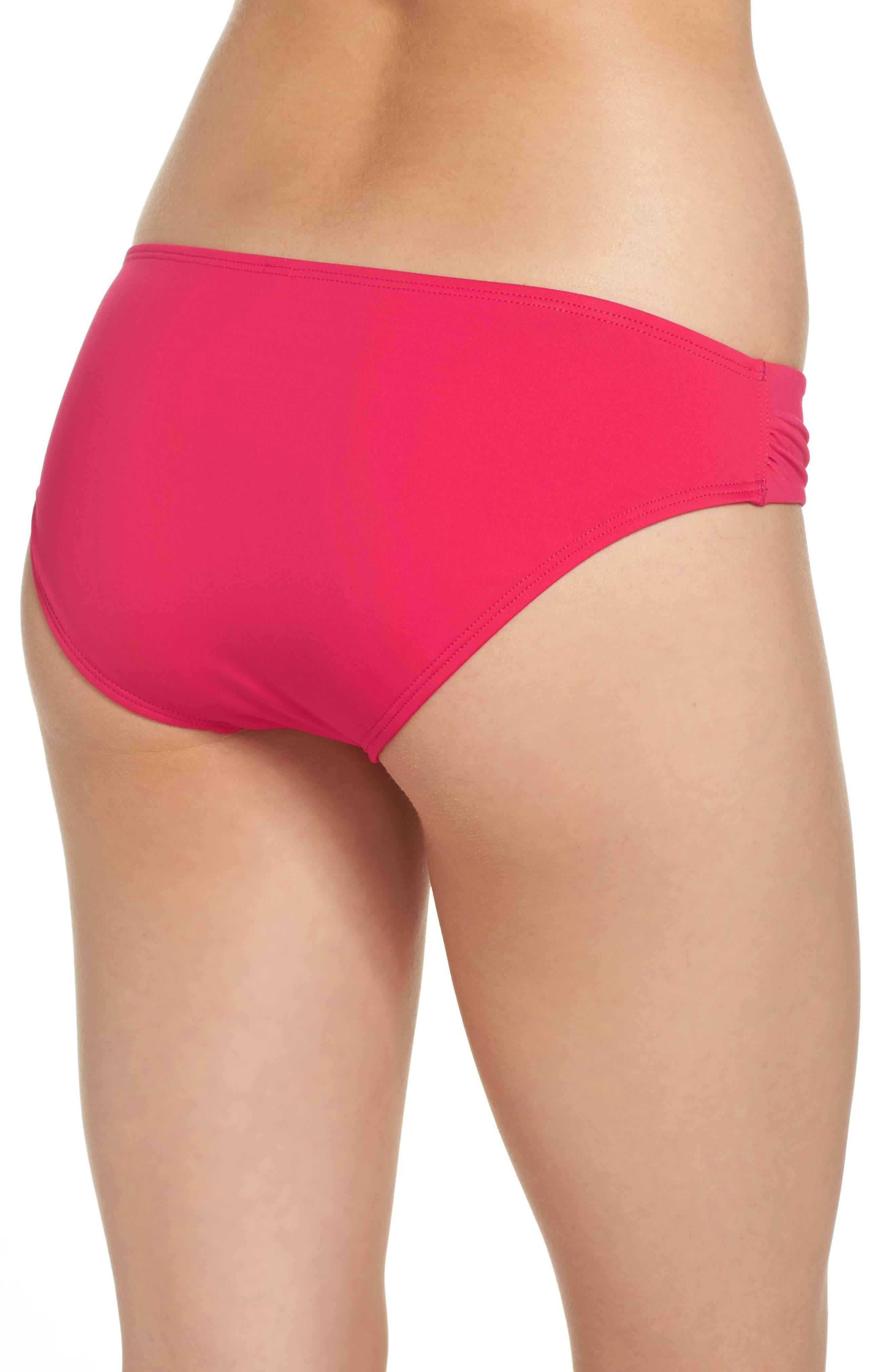 Side Shirred Hipster Bikini Bottoms,                             Alternate thumbnail 2, color,                             CERISE