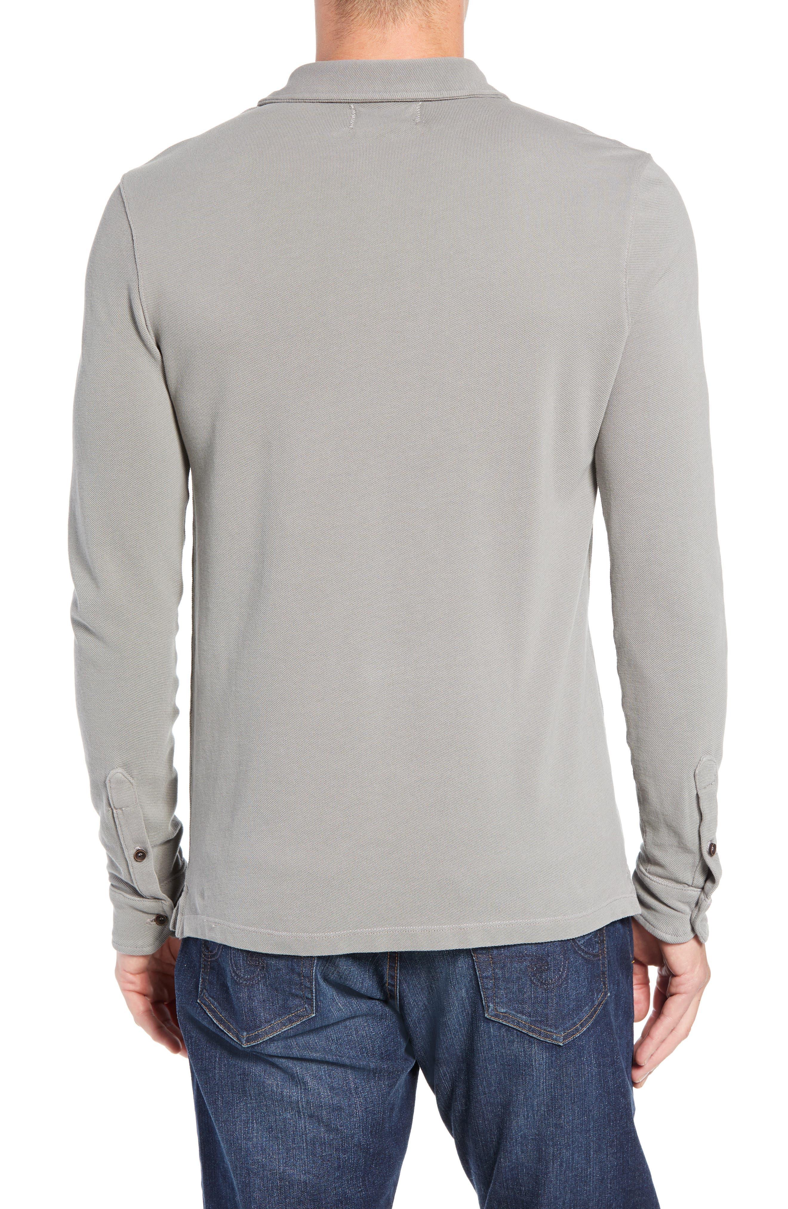 Regular Fit Long Sleeve Piqué Polo,                             Alternate thumbnail 2, color,                             GREY
