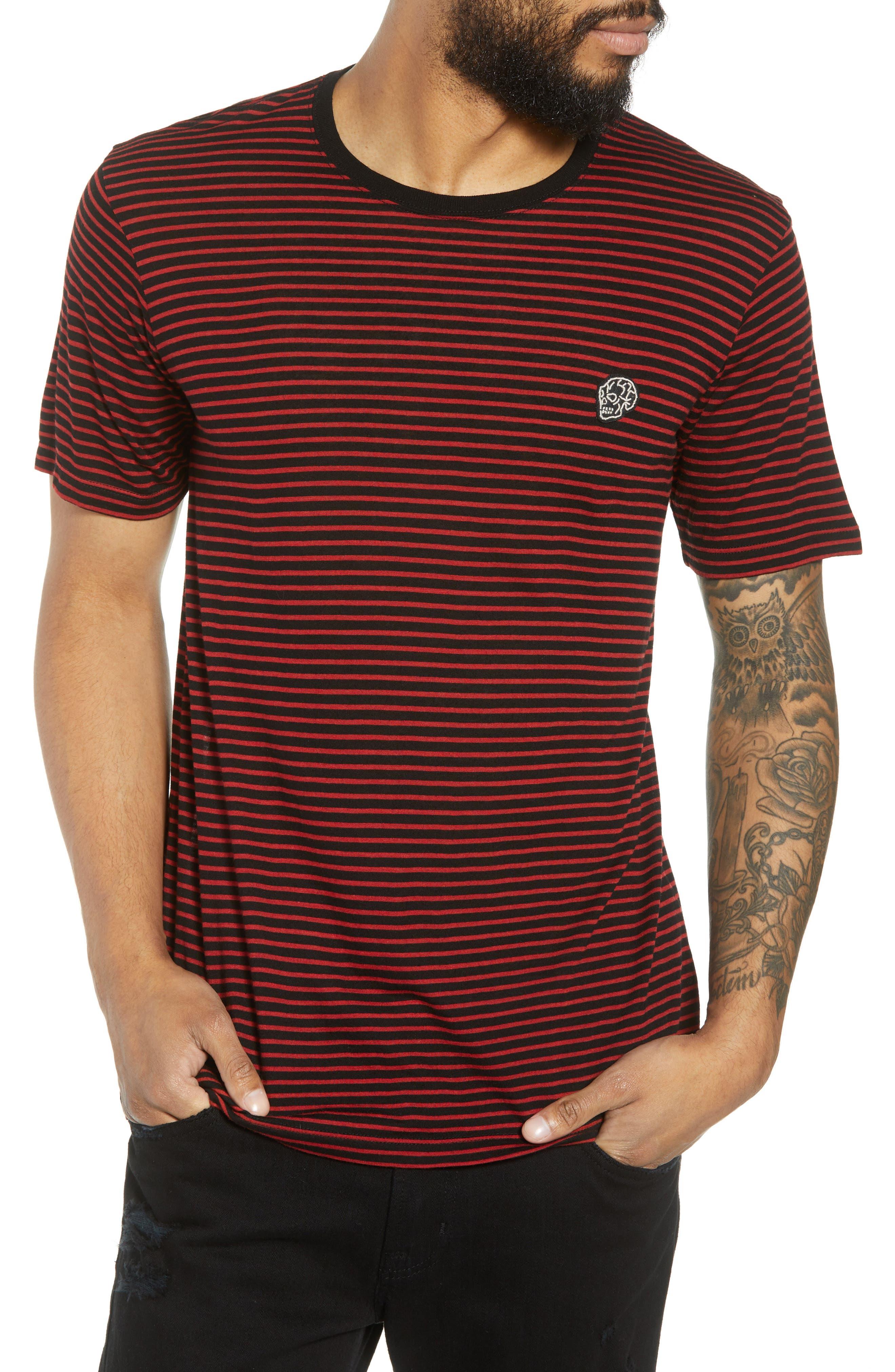 Skull Appliqué Striped Wool Blend T-Shirt, Main, color, 001