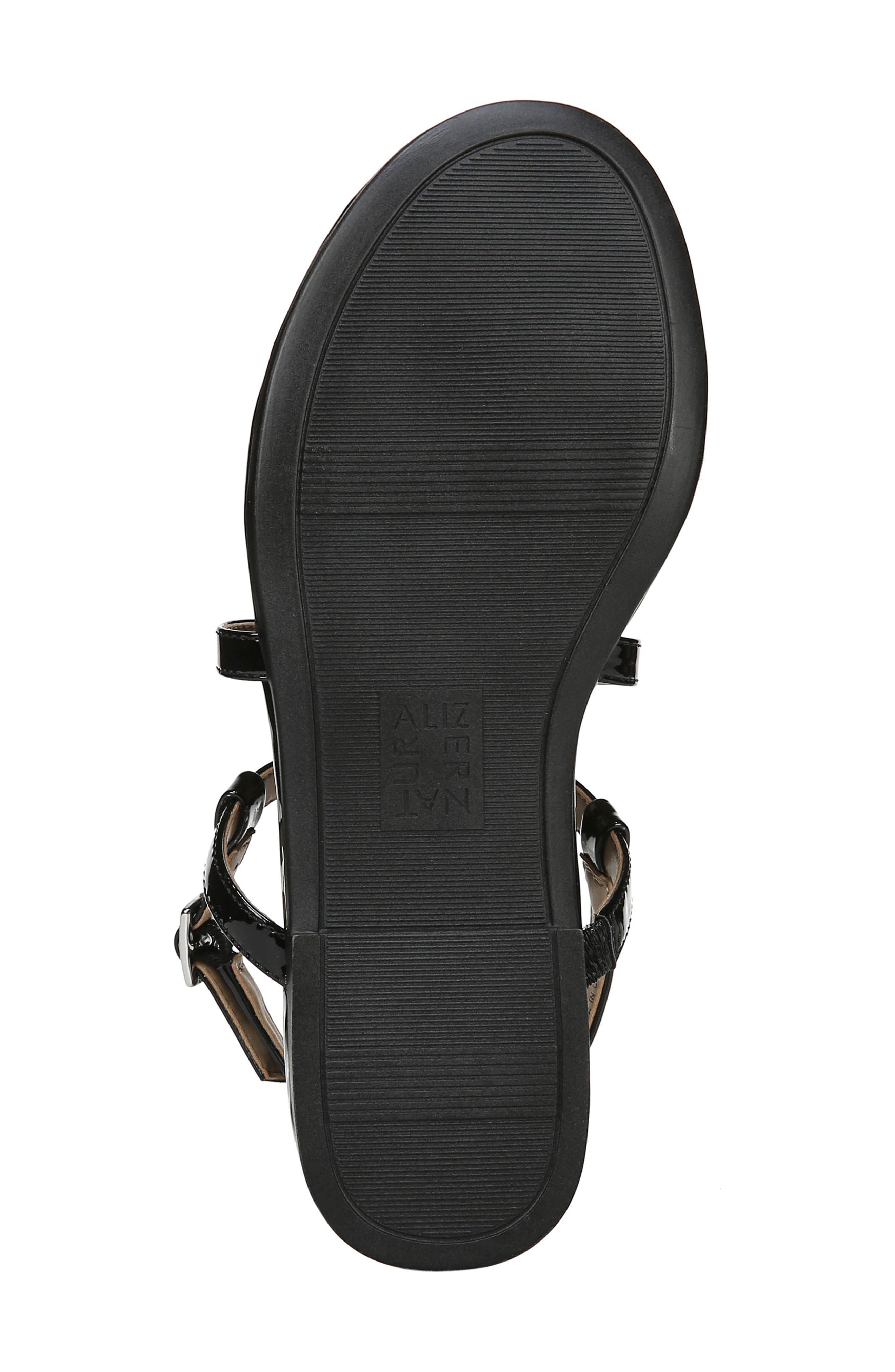 Tilly Embellished Sandal,                             Alternate thumbnail 6, color,                             BLACK PATENT FAUX LEATHER