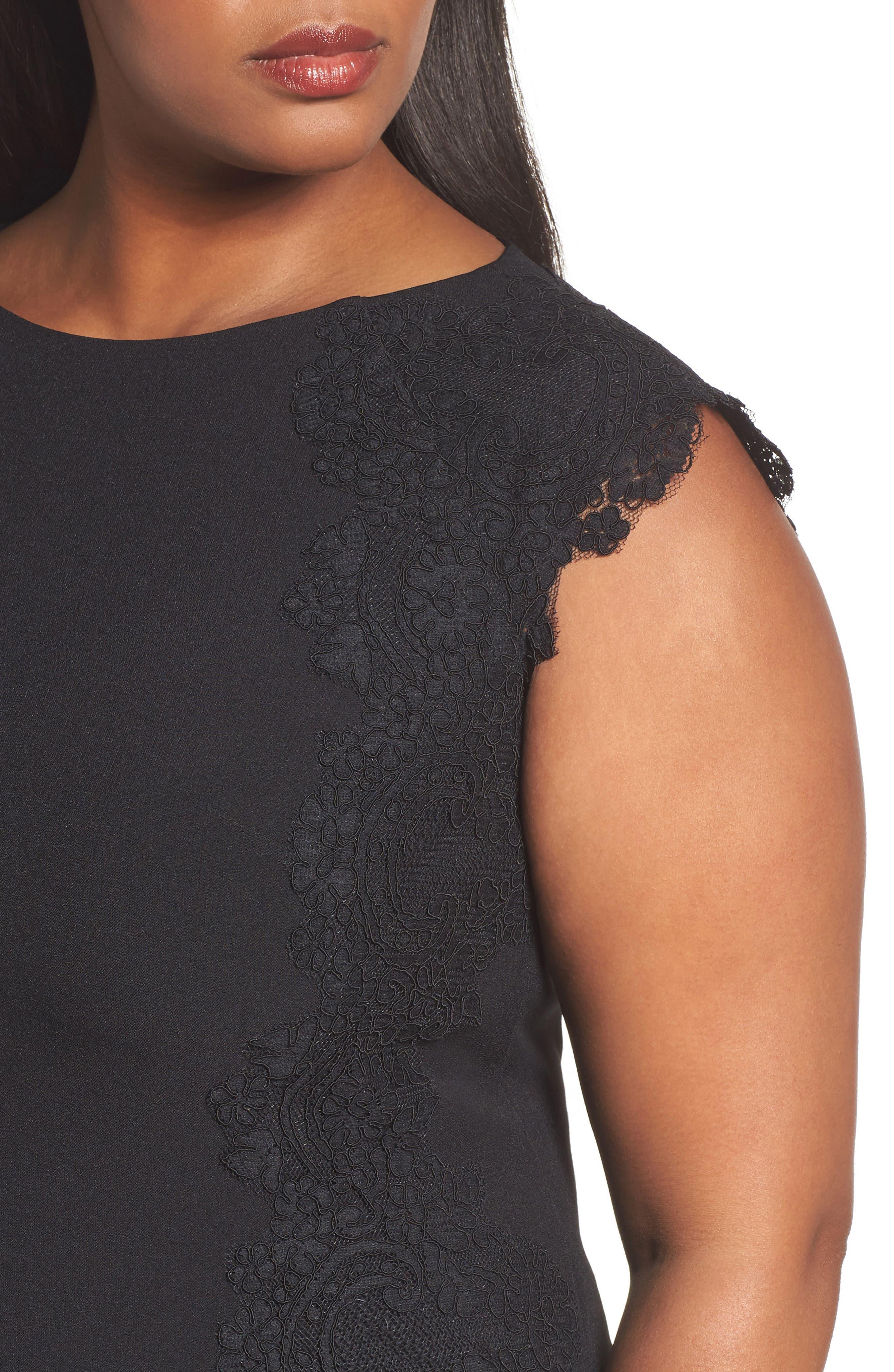Lace Side Sheath Dress,                             Alternate thumbnail 4, color,                             001