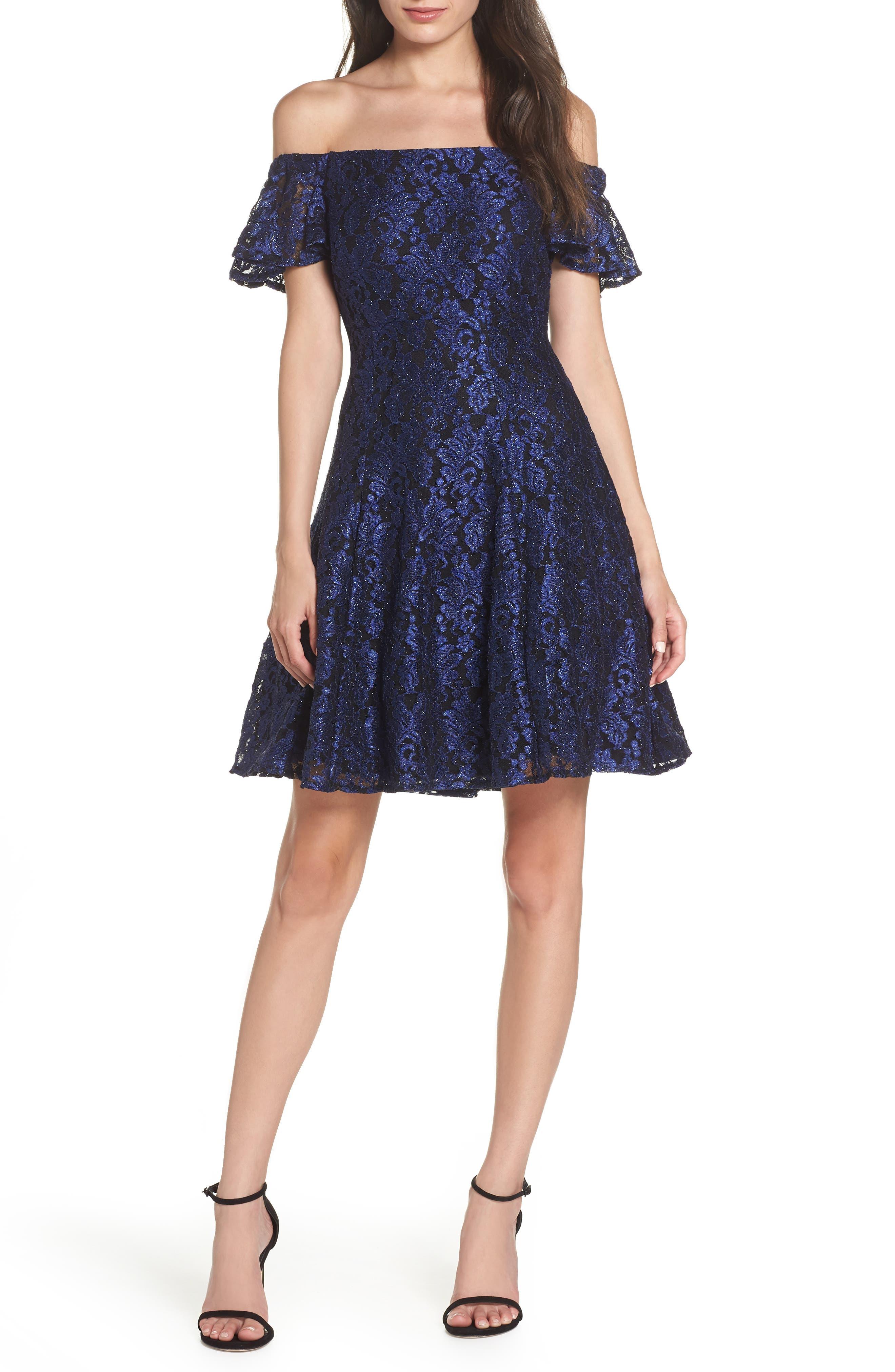 Morgan & Co. Off The Shoulder Lace Dress, Blue