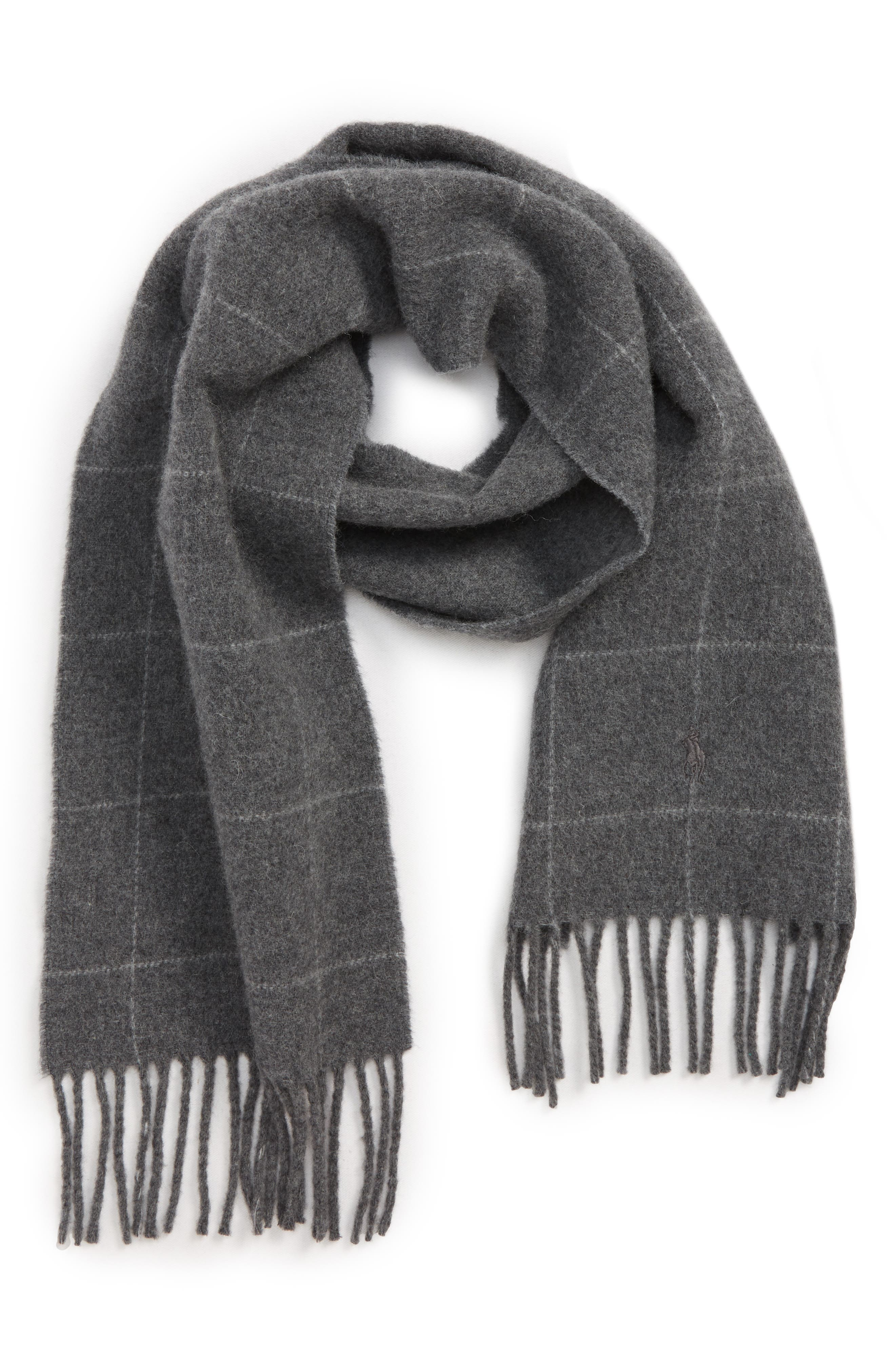 Reversible Windowpane Wool Blend Scarf,                             Main thumbnail 1, color,                             020