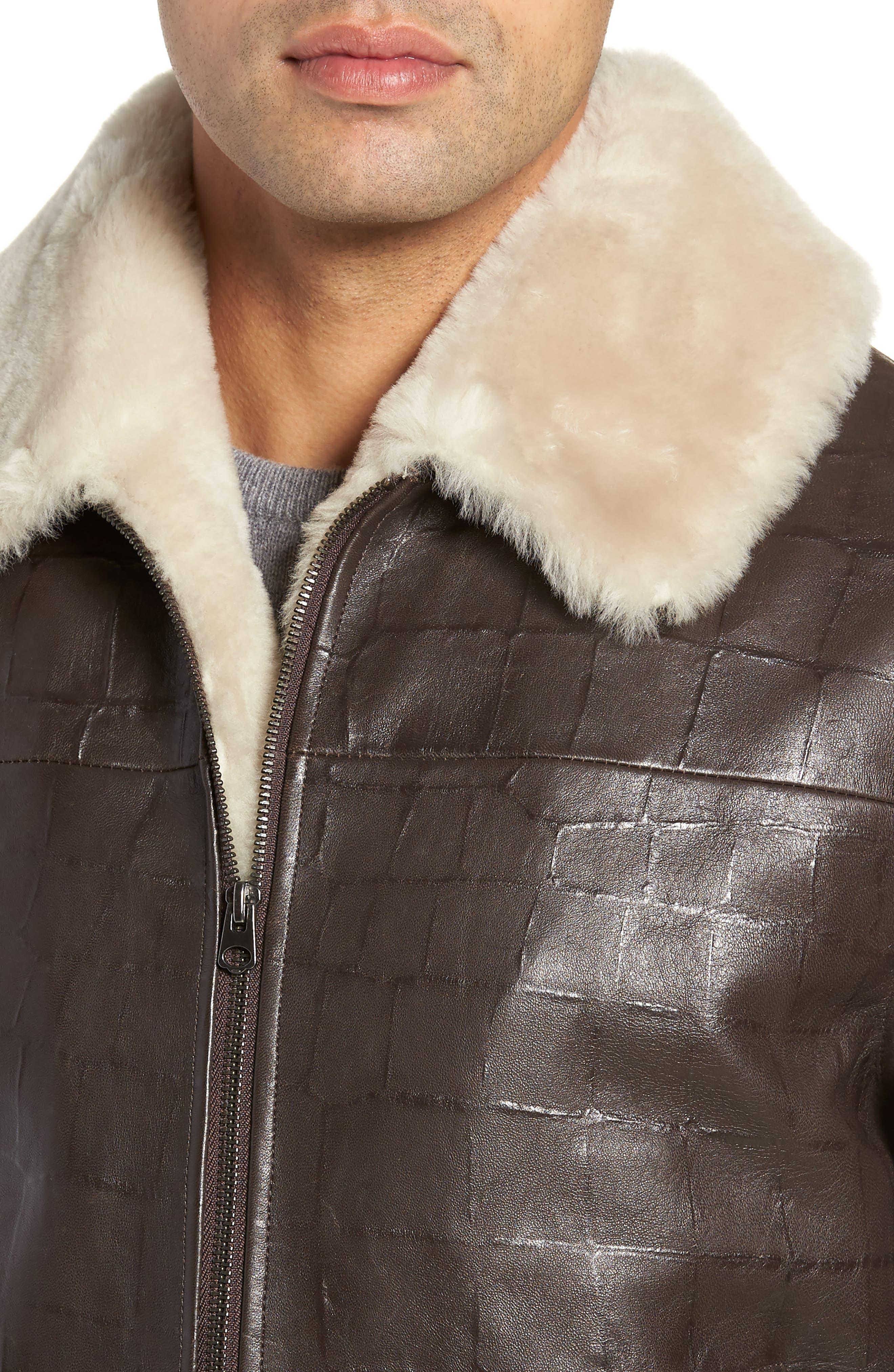 Corson Genuine Shearling Jacket,                             Alternate thumbnail 4, color,                             BROWN