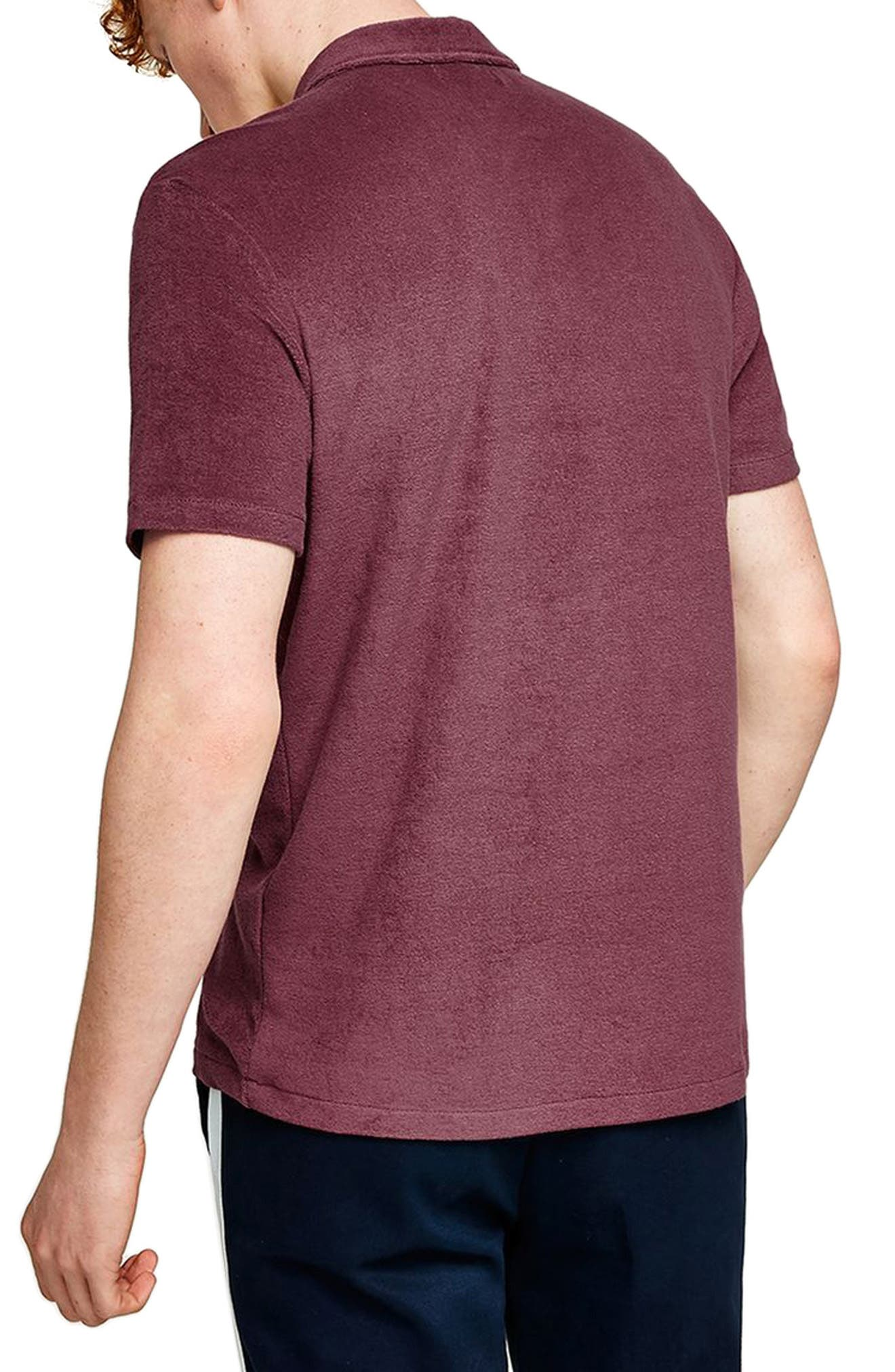 Slim Fit Washed Toweling Polo,                             Alternate thumbnail 2, color,