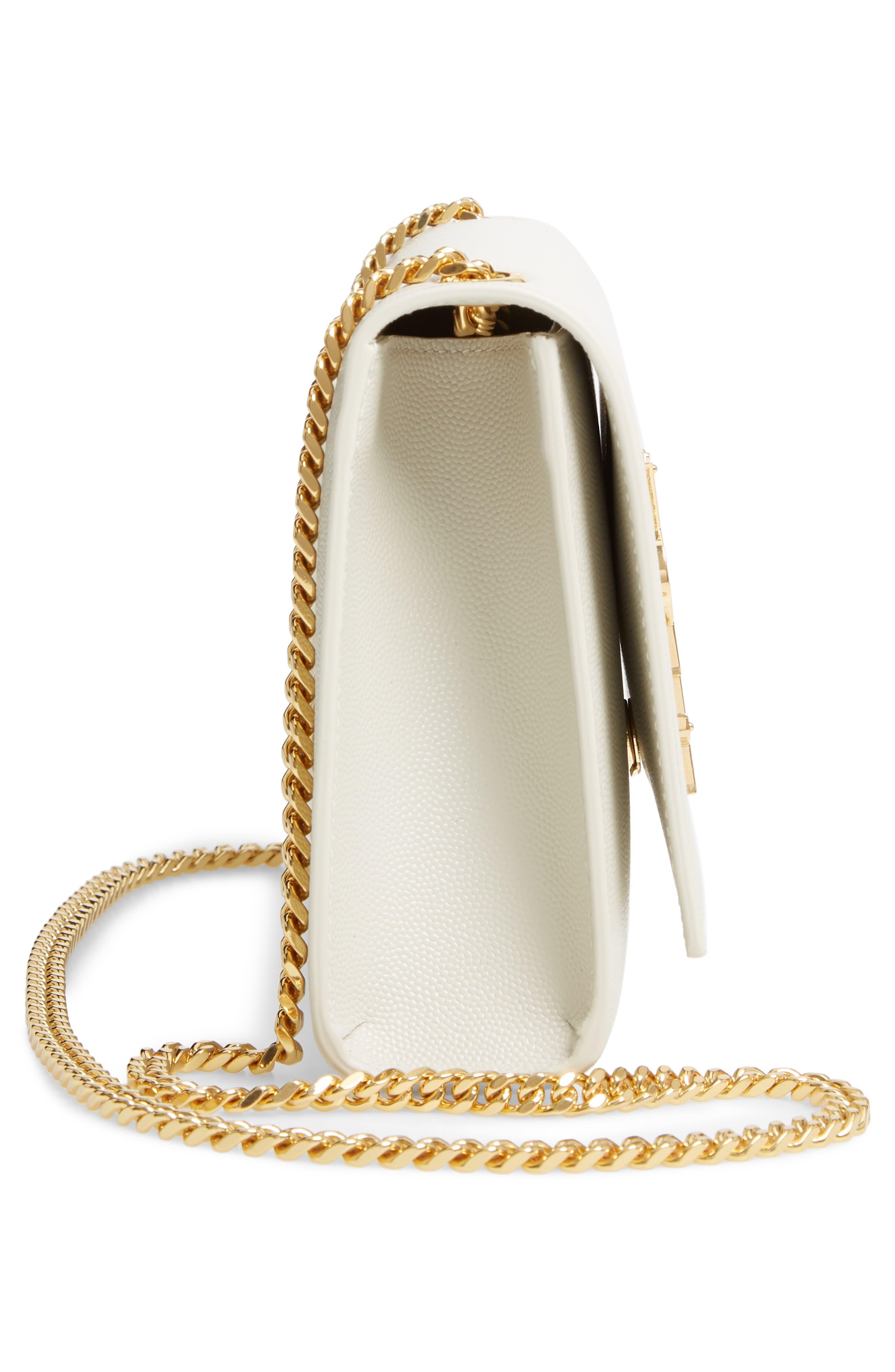 'Medium Kate' Leather Chain Shoulder Bag,                             Alternate thumbnail 5, color,                             CREMASOFT