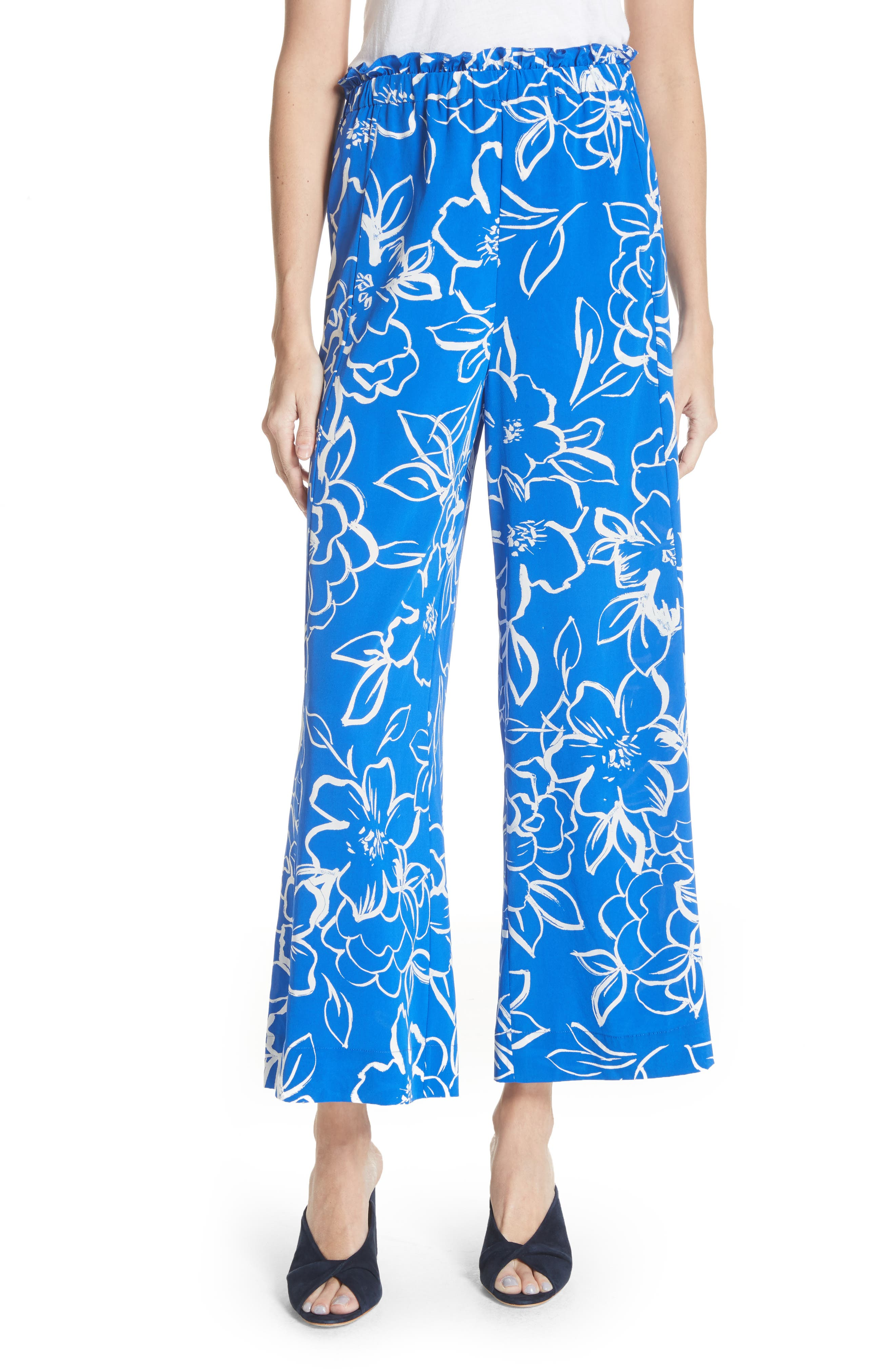 Floral Crop Pants,                             Main thumbnail 1, color,                             406