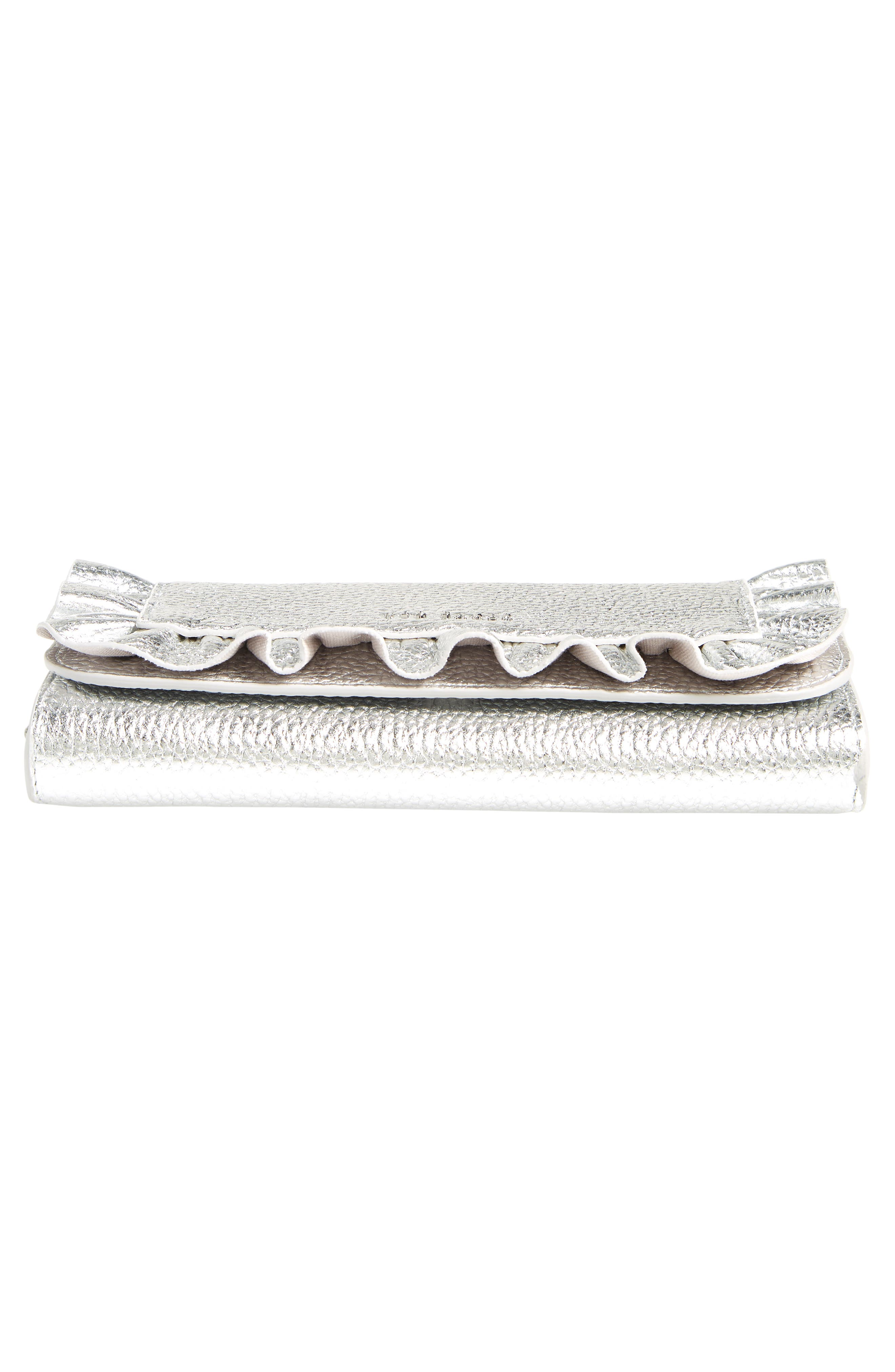 Ruffle Leather Matinée Wallet,                             Alternate thumbnail 6, color,                             SILVER