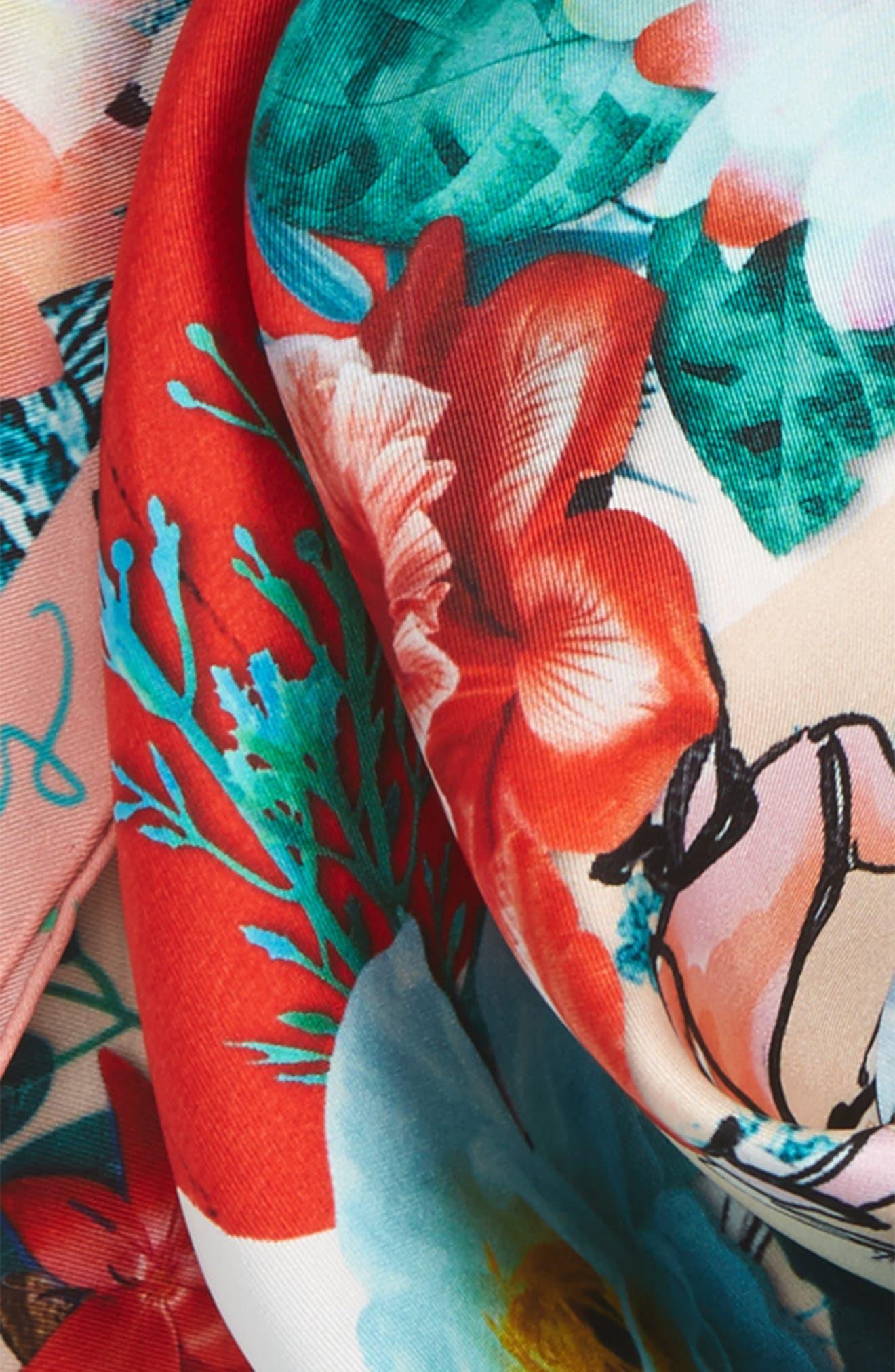 Les Filles en Fleur Square Silk Scarf,                             Alternate thumbnail 15, color,