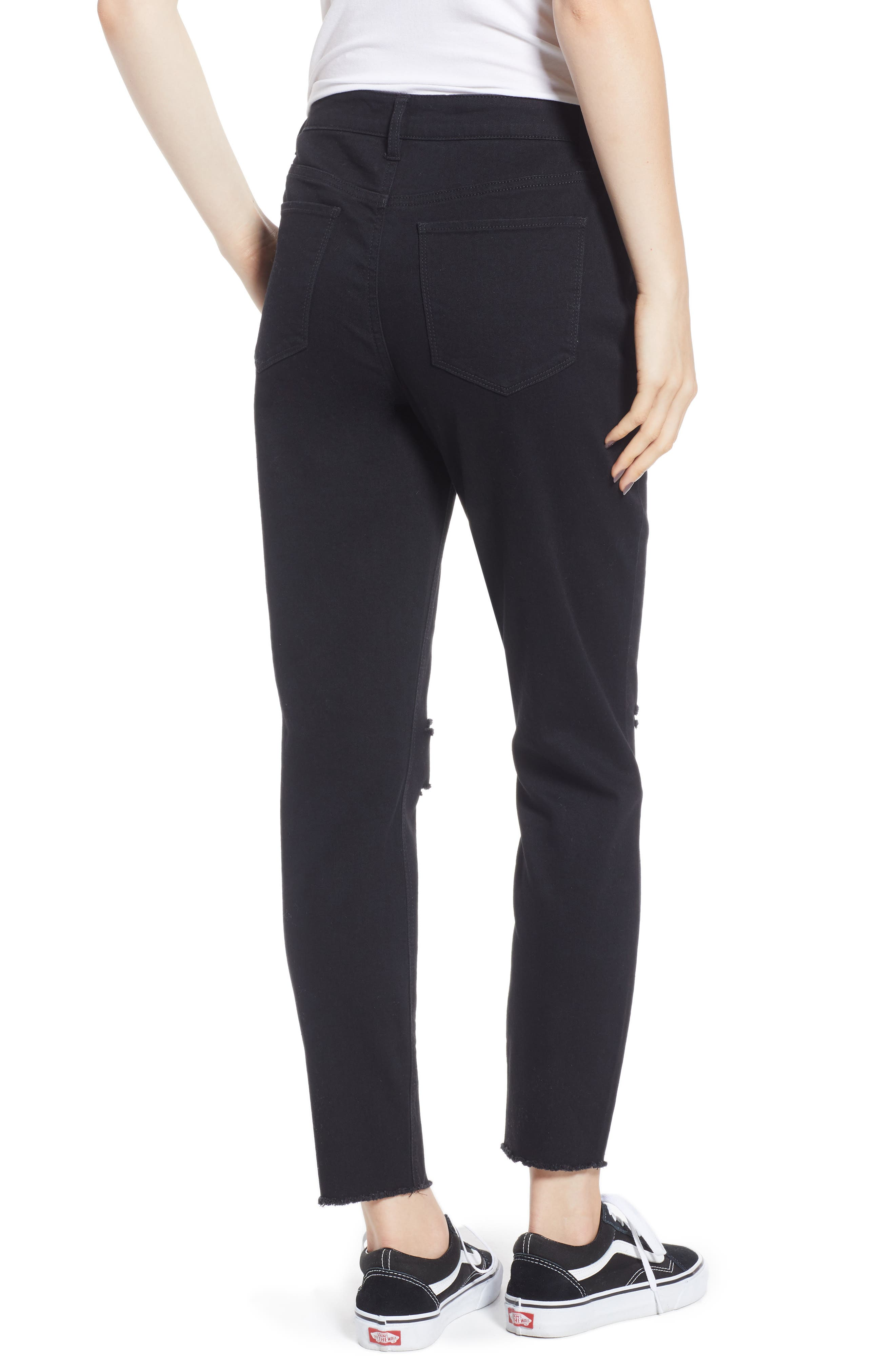 Ripped High Waist Ankle Skinny Jeans,                             Alternate thumbnail 2, color,                             BLACK RINSE