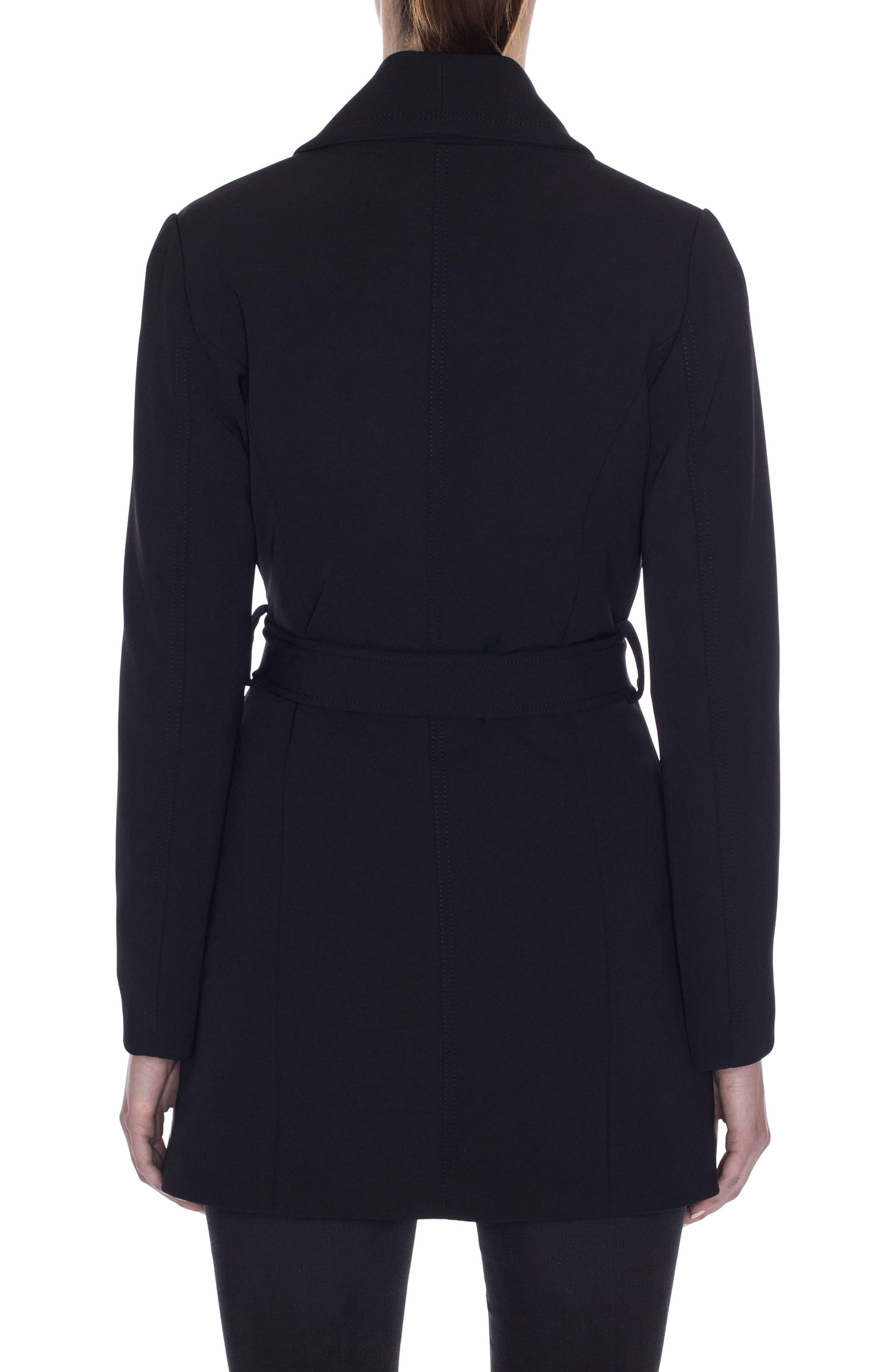 Abbey Draped Collar Wrap Coat,                             Alternate thumbnail 2, color,                             BLACK