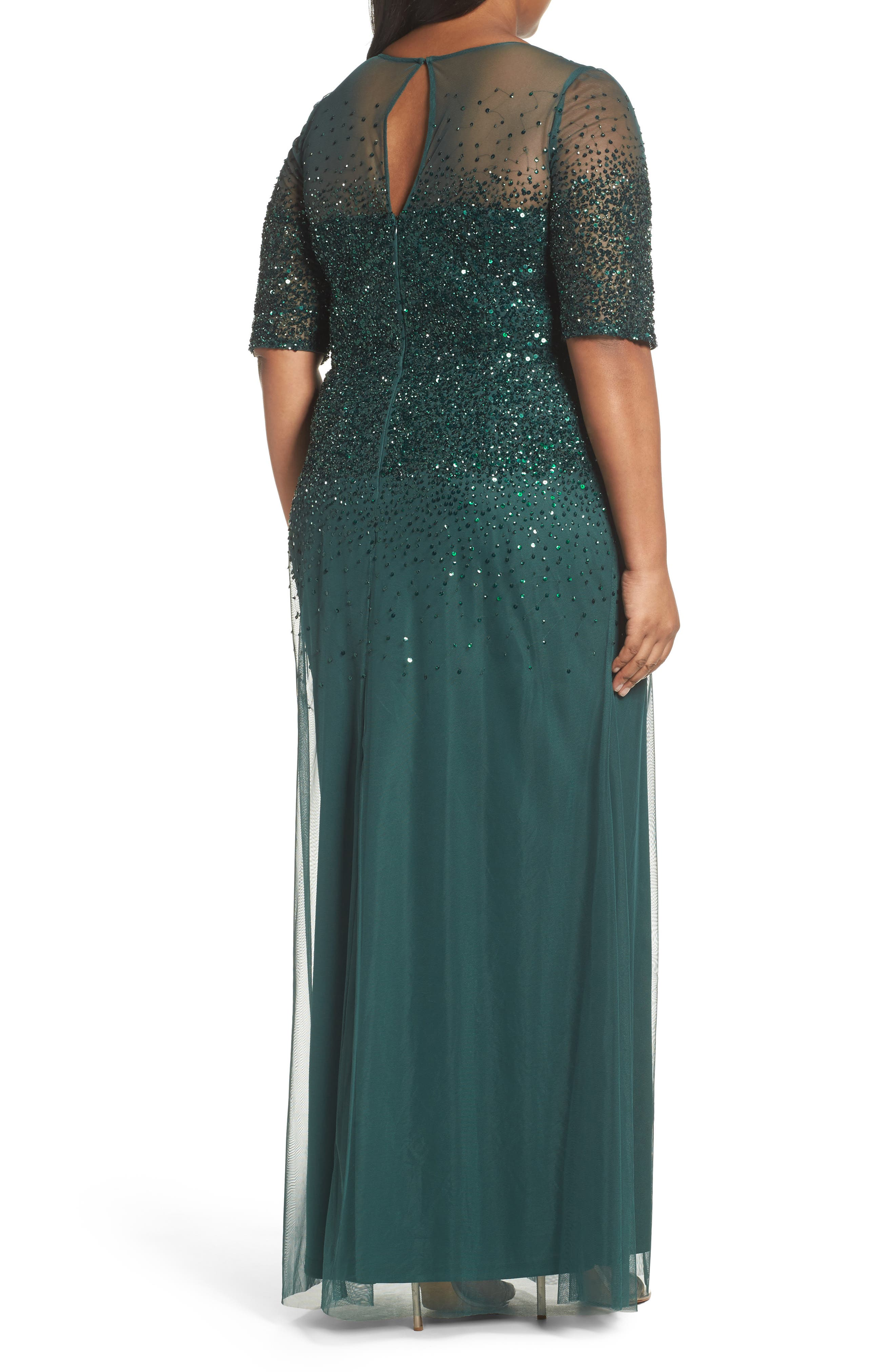 Beaded Illusion Gown,                             Alternate thumbnail 2, color,                             302