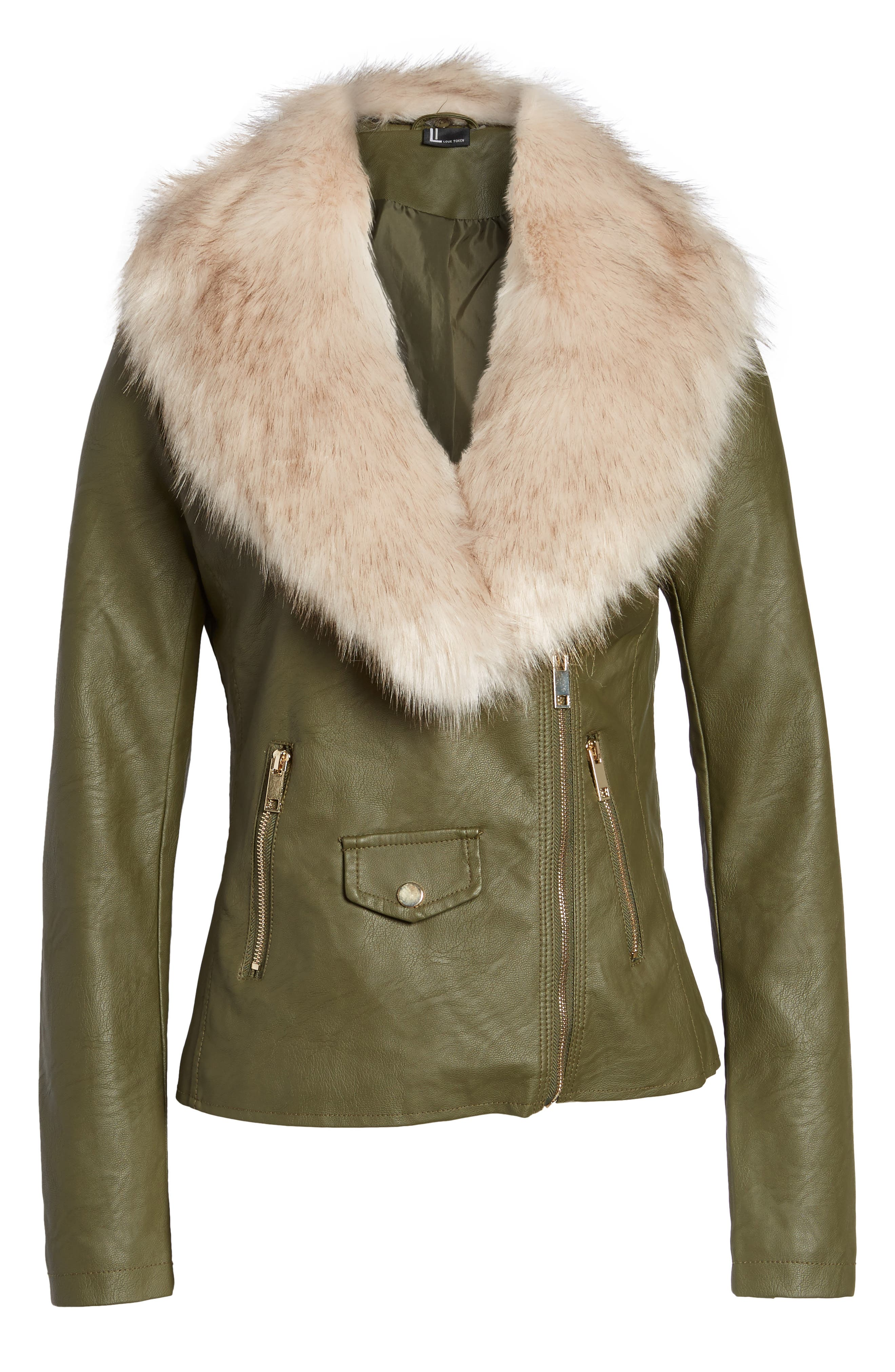 Faux Leather Jacket with Removable Faux Fur Collar,                             Alternate thumbnail 10, color,
