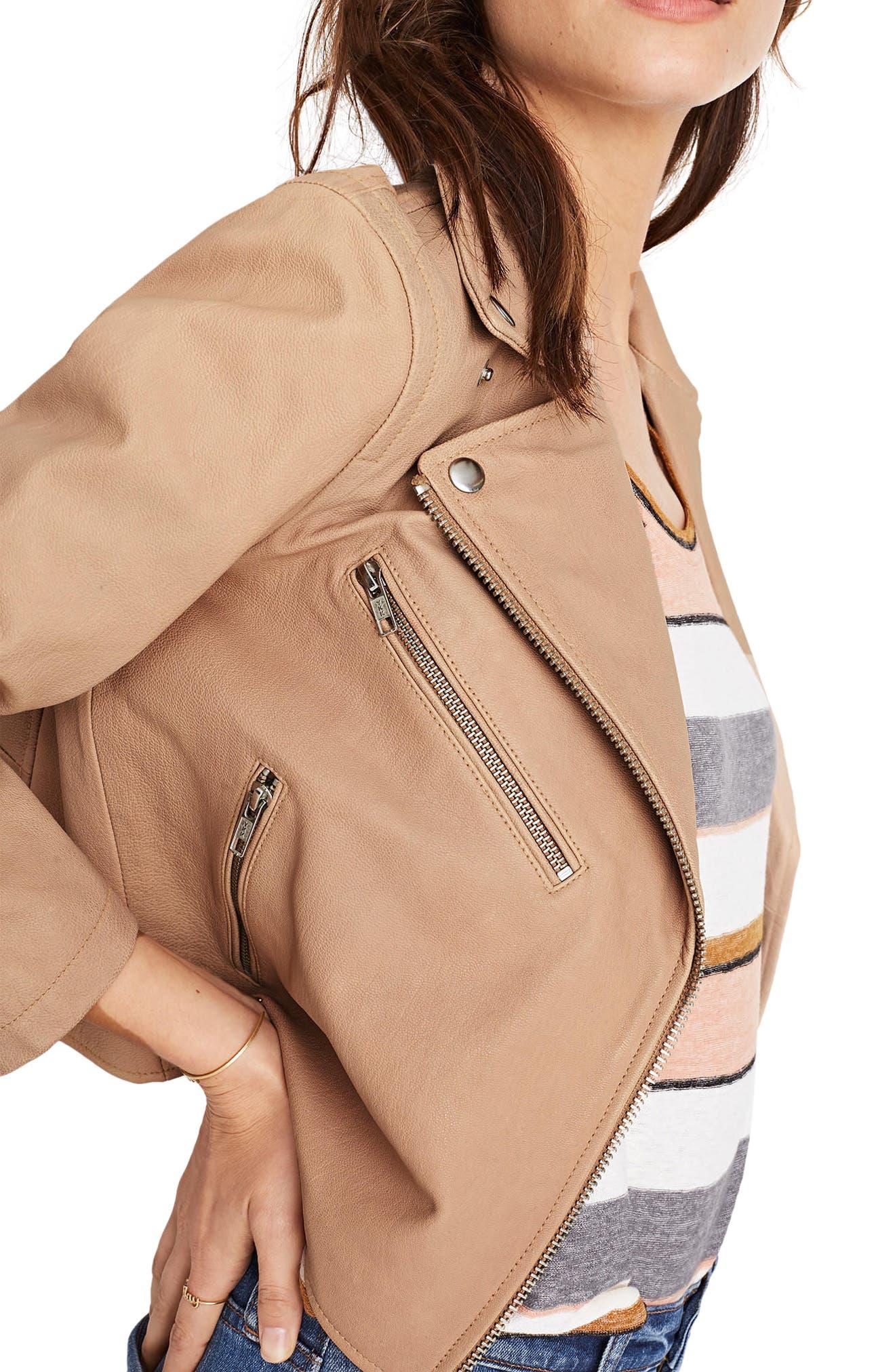 Crop Leather Moto Jacket,                             Alternate thumbnail 4, color,                             250