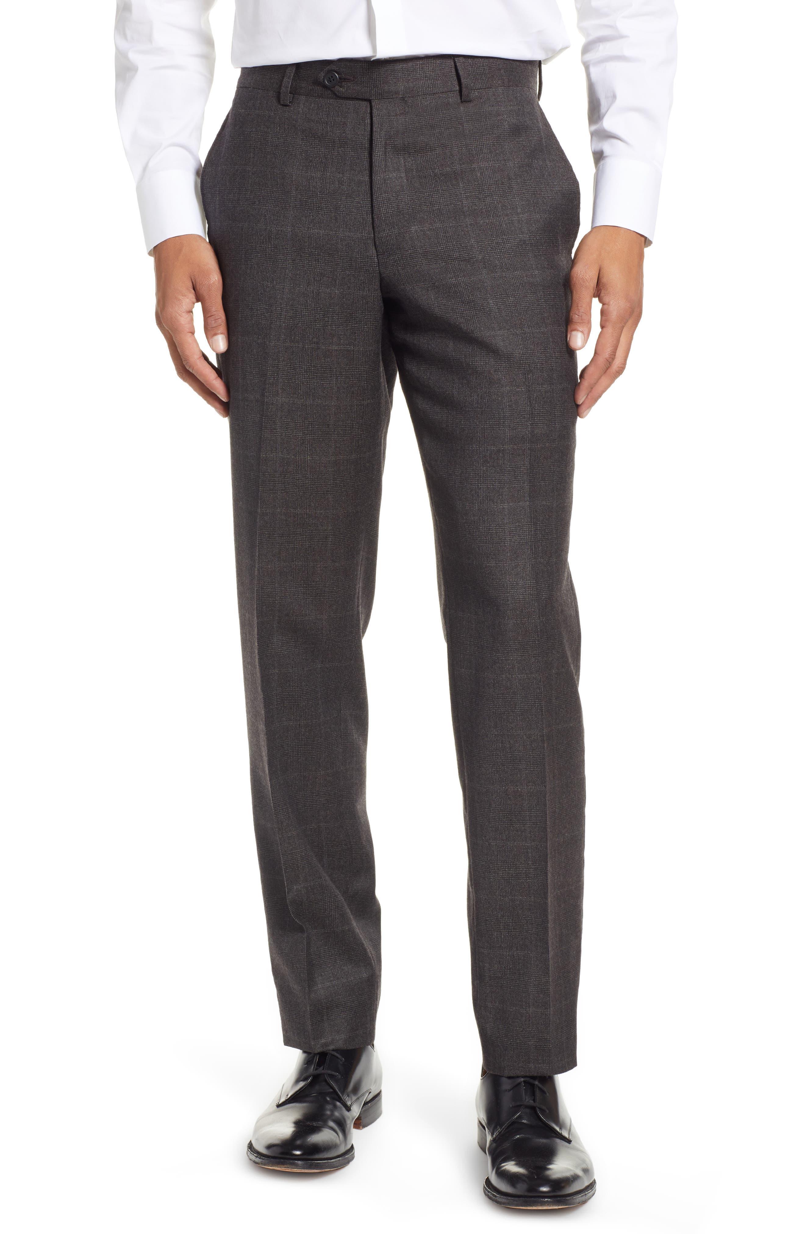 Trim Fit Flat Front Wool Trousers,                         Main,                         color, BLACK