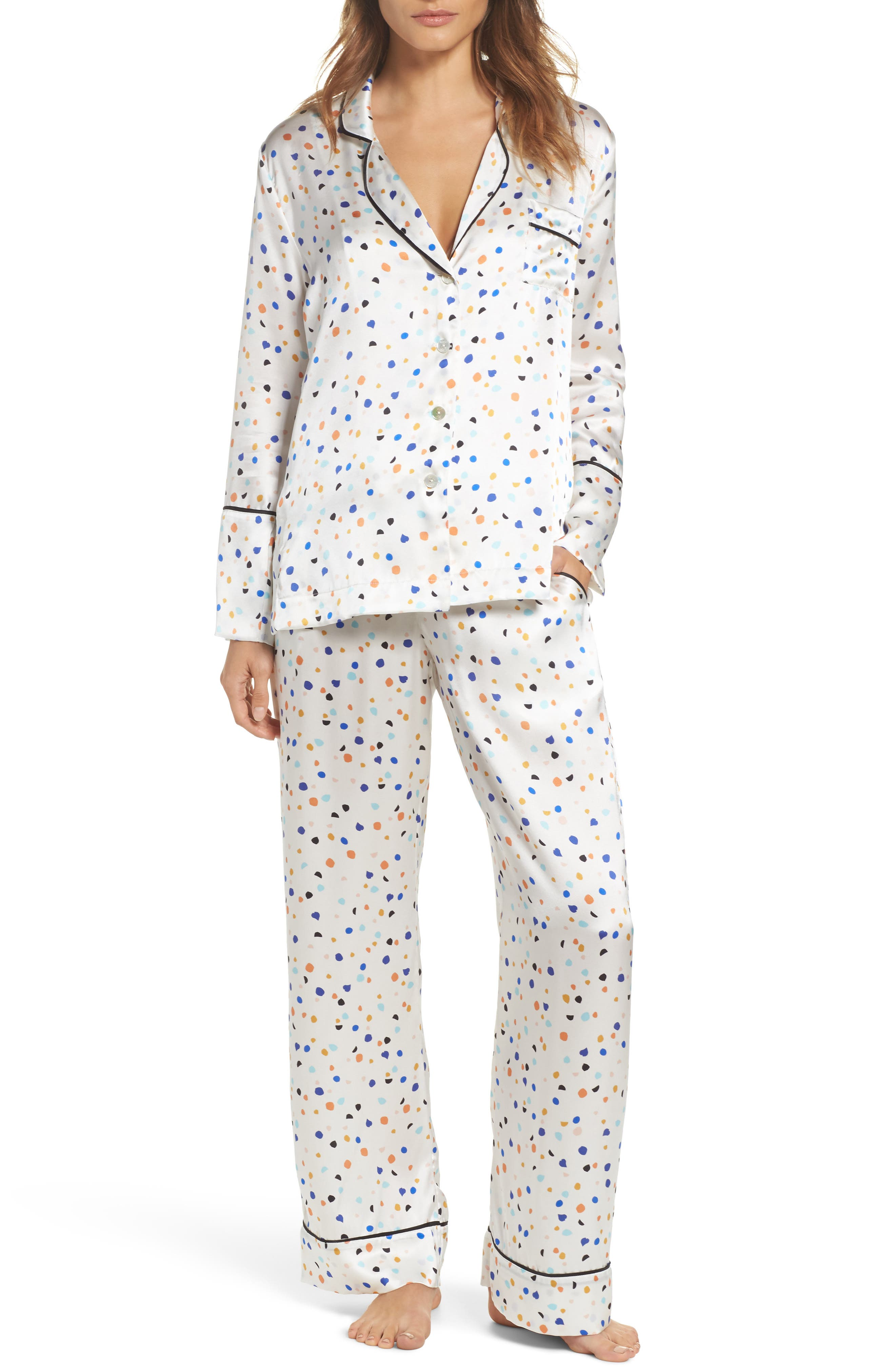 Lisbon Pebble Evie Silk Pajamas,                         Main,                         color, 100