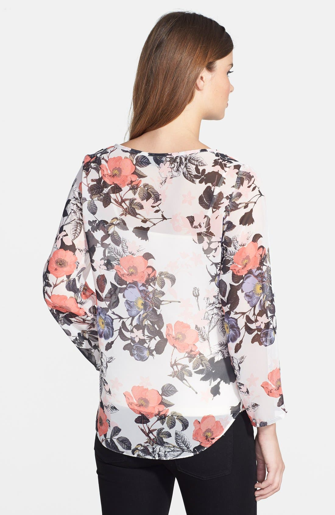 Poppy Print Blouse,                             Alternate thumbnail 2, color,                             905